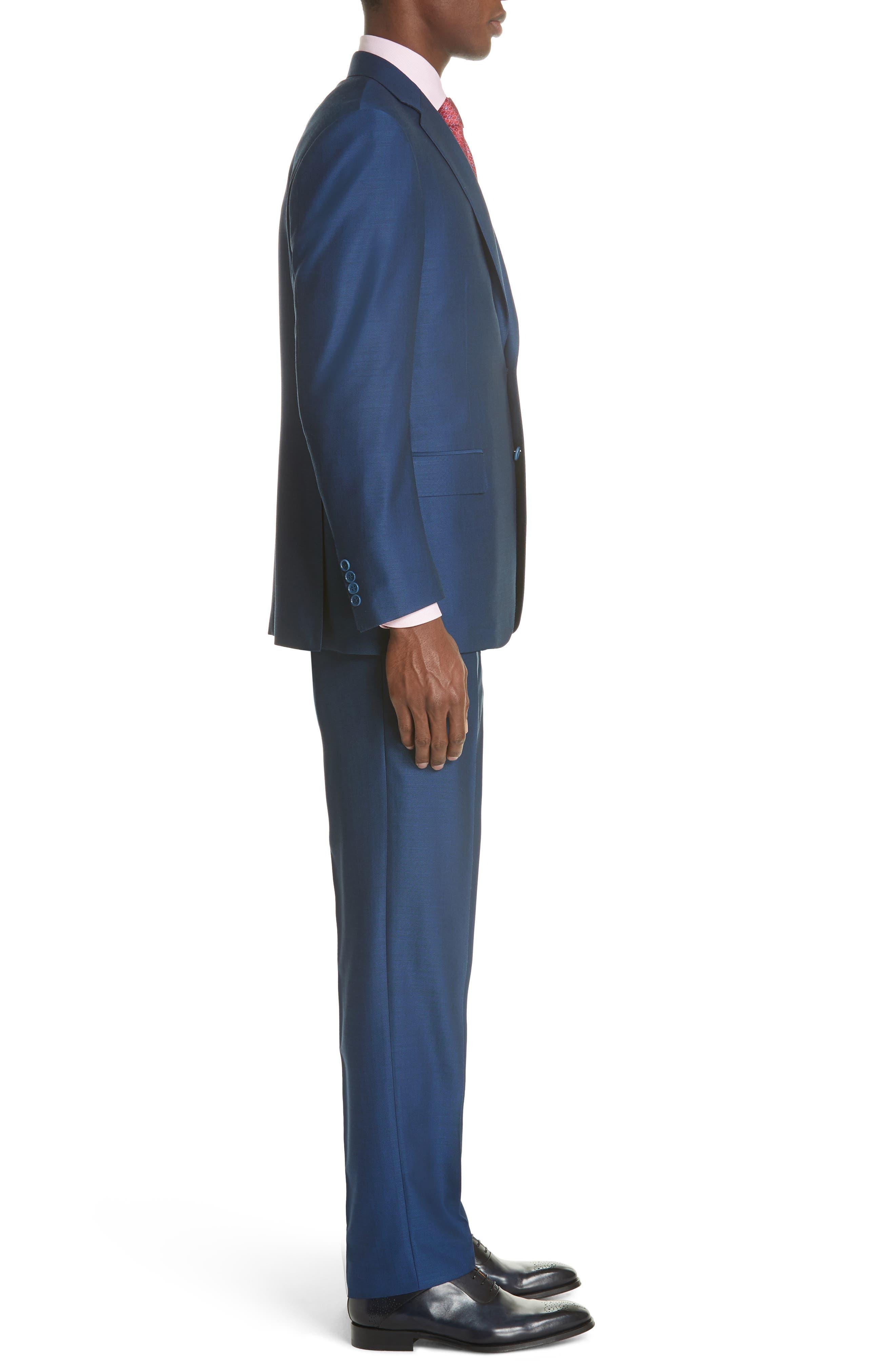 Classic Fit Solid Wool Suit,                             Alternate thumbnail 3, color,                             Blue