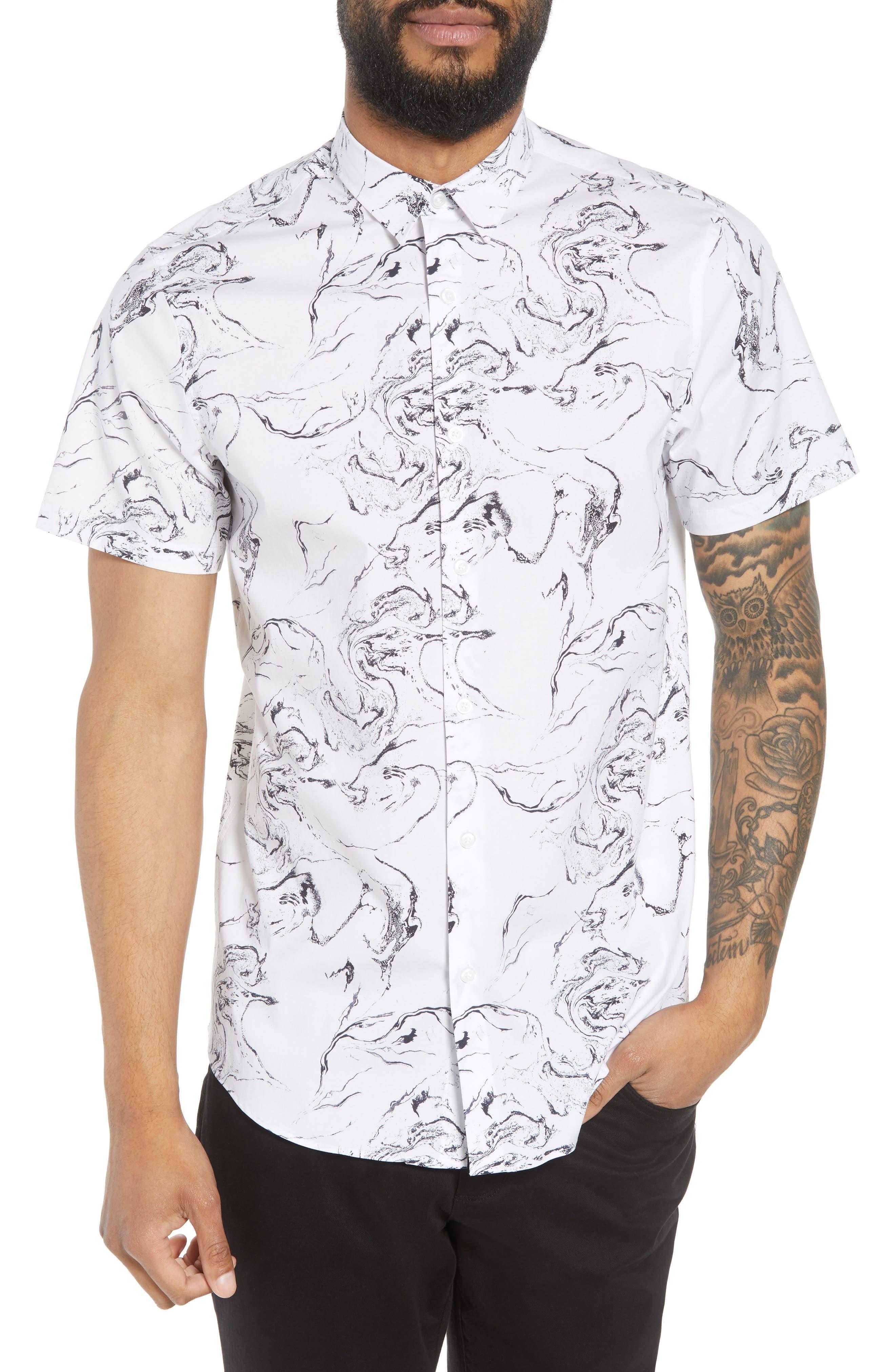 Trim Fit Stretch Print Short Sleeve Sport Shirt,                         Main,                         color, White Marble Print
