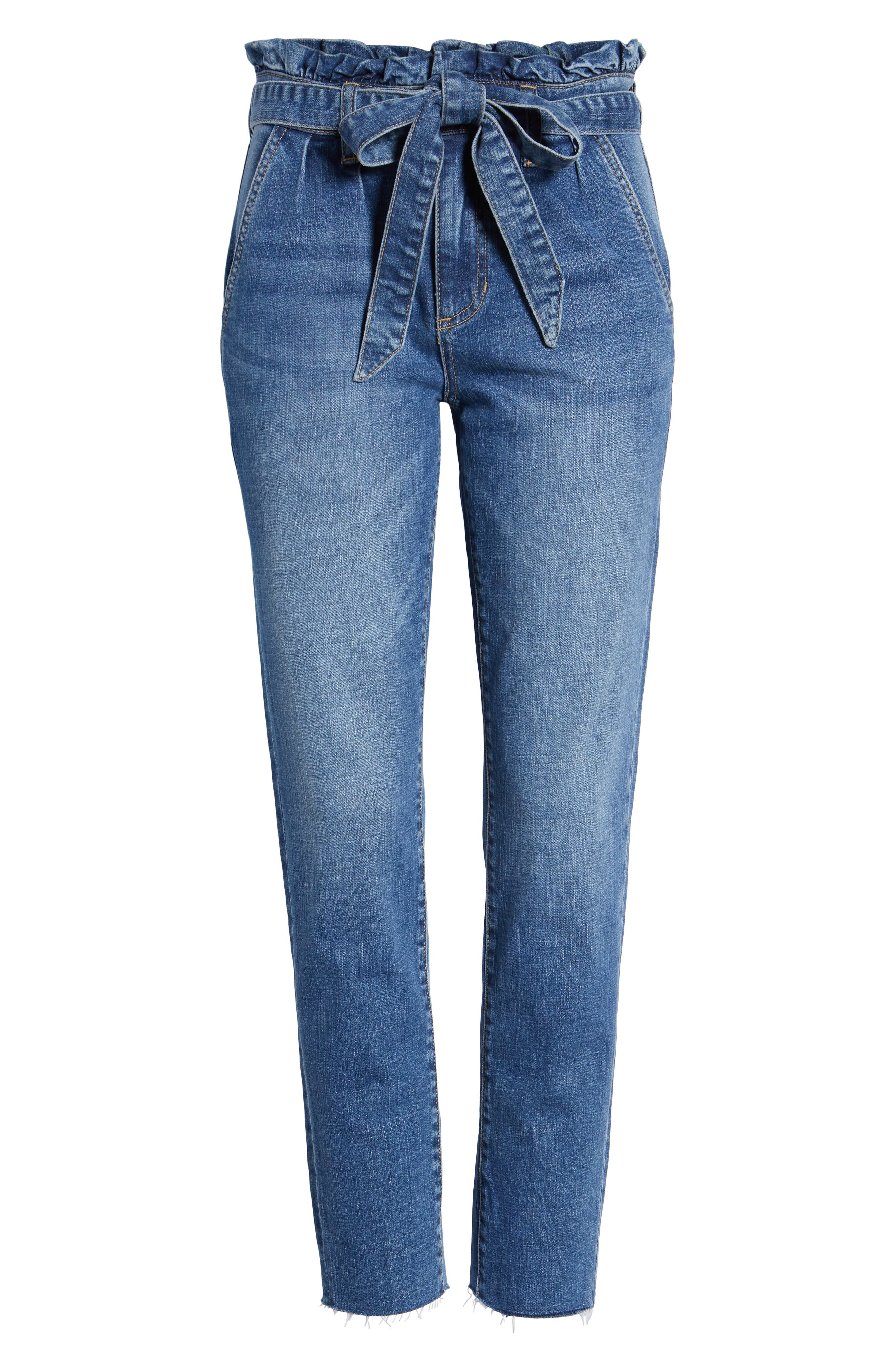 Paperbag Waist Skinny Jeans,                             Alternate thumbnail 7, color,                             Pretty