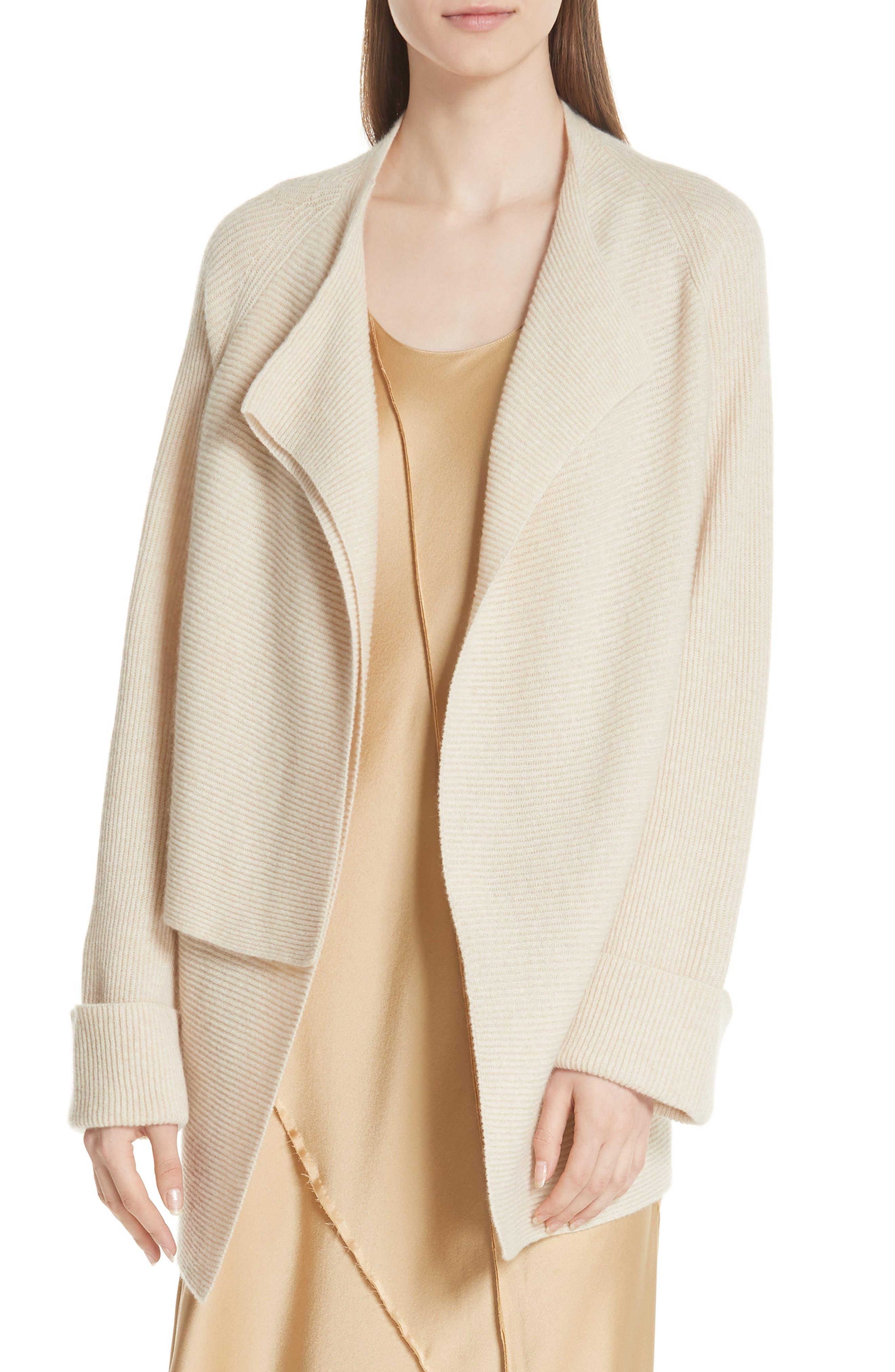 Drape Front Wool & Cashmere Cardigan,                         Main,                         color, Sand