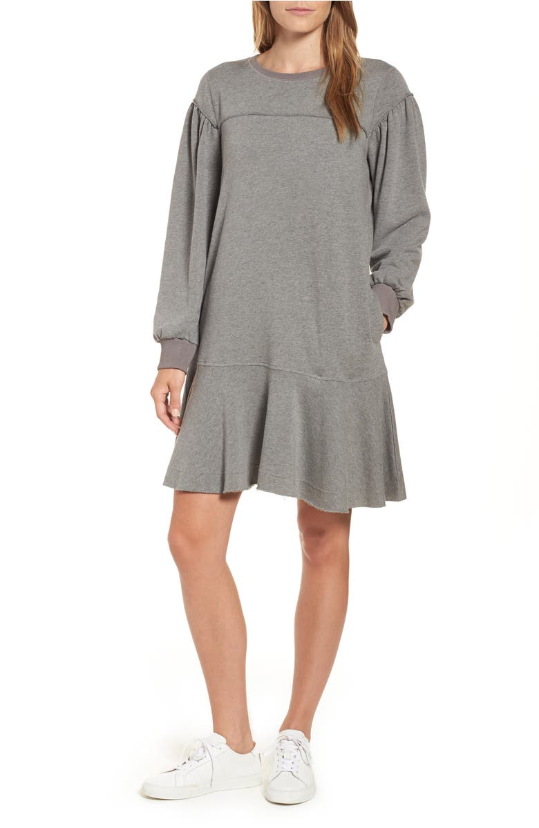 Ruffle Hem Cotton Blend Sweatshirt Dress,                         Main,                         color, Grey Dark Heather