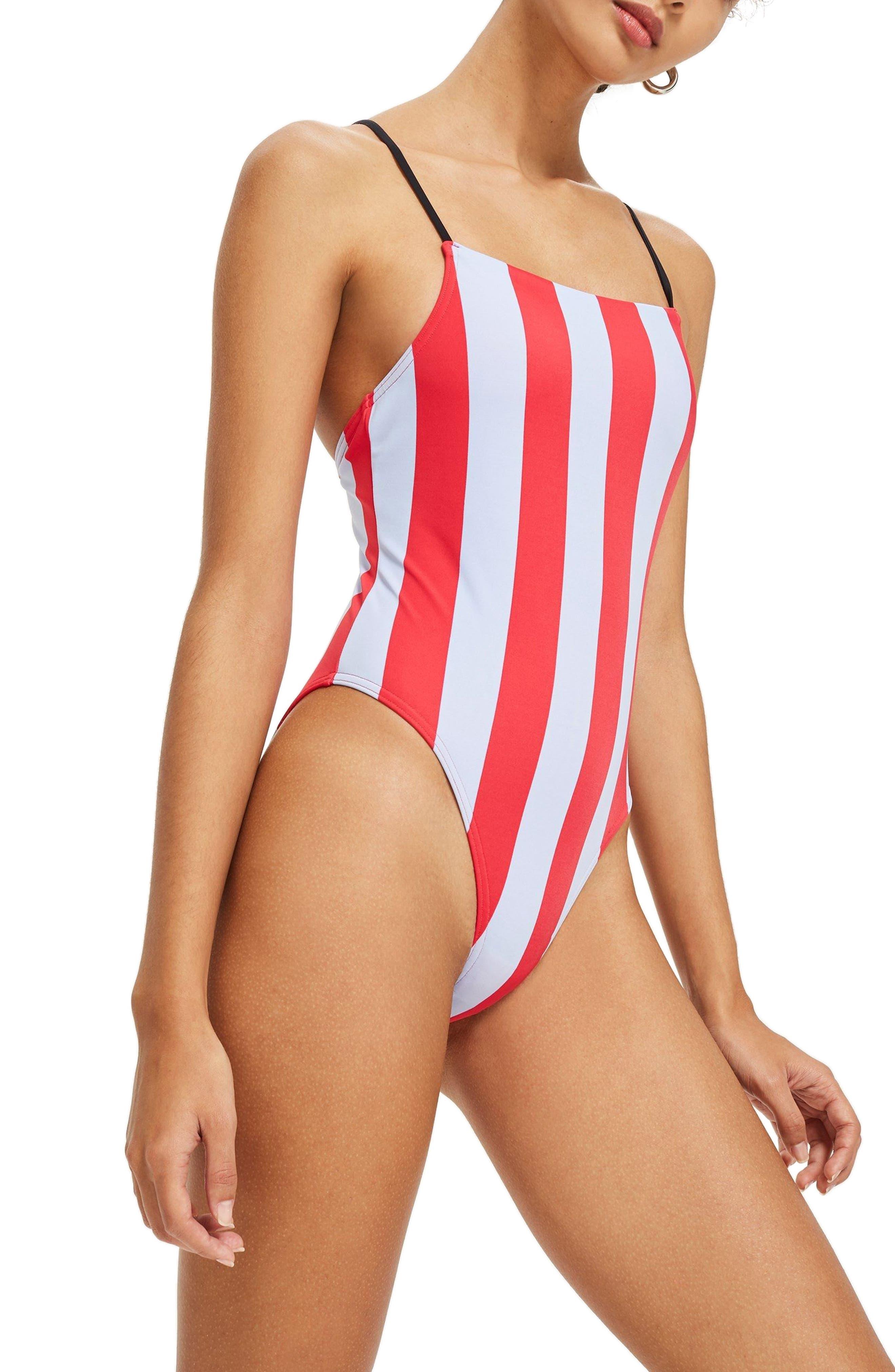 Stripe One-Piece Swimsuit,                         Main,                         color, Red Multi