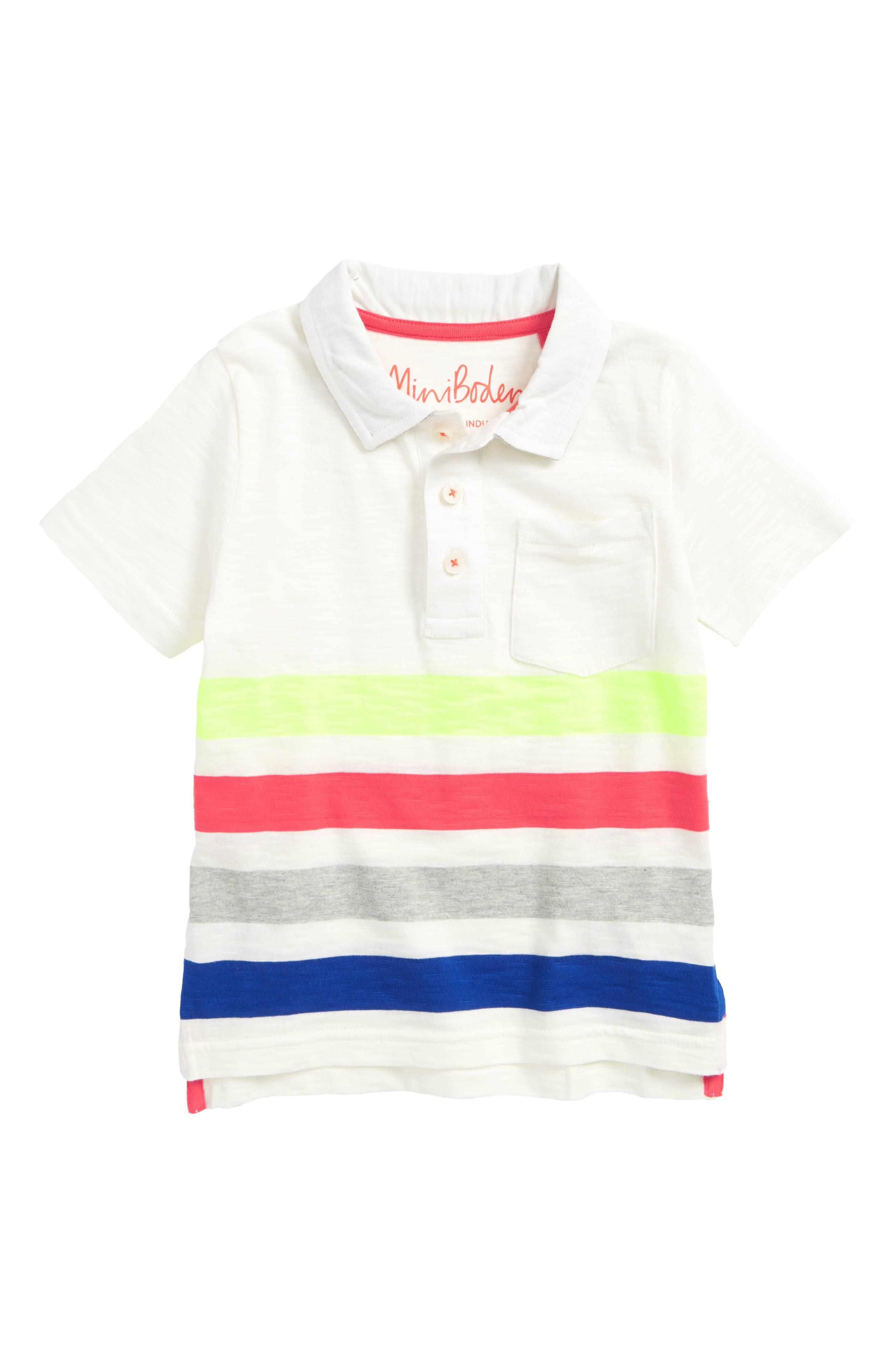Rainbow Jersey Polo,                         Main,                         color, Ivory Rainbow