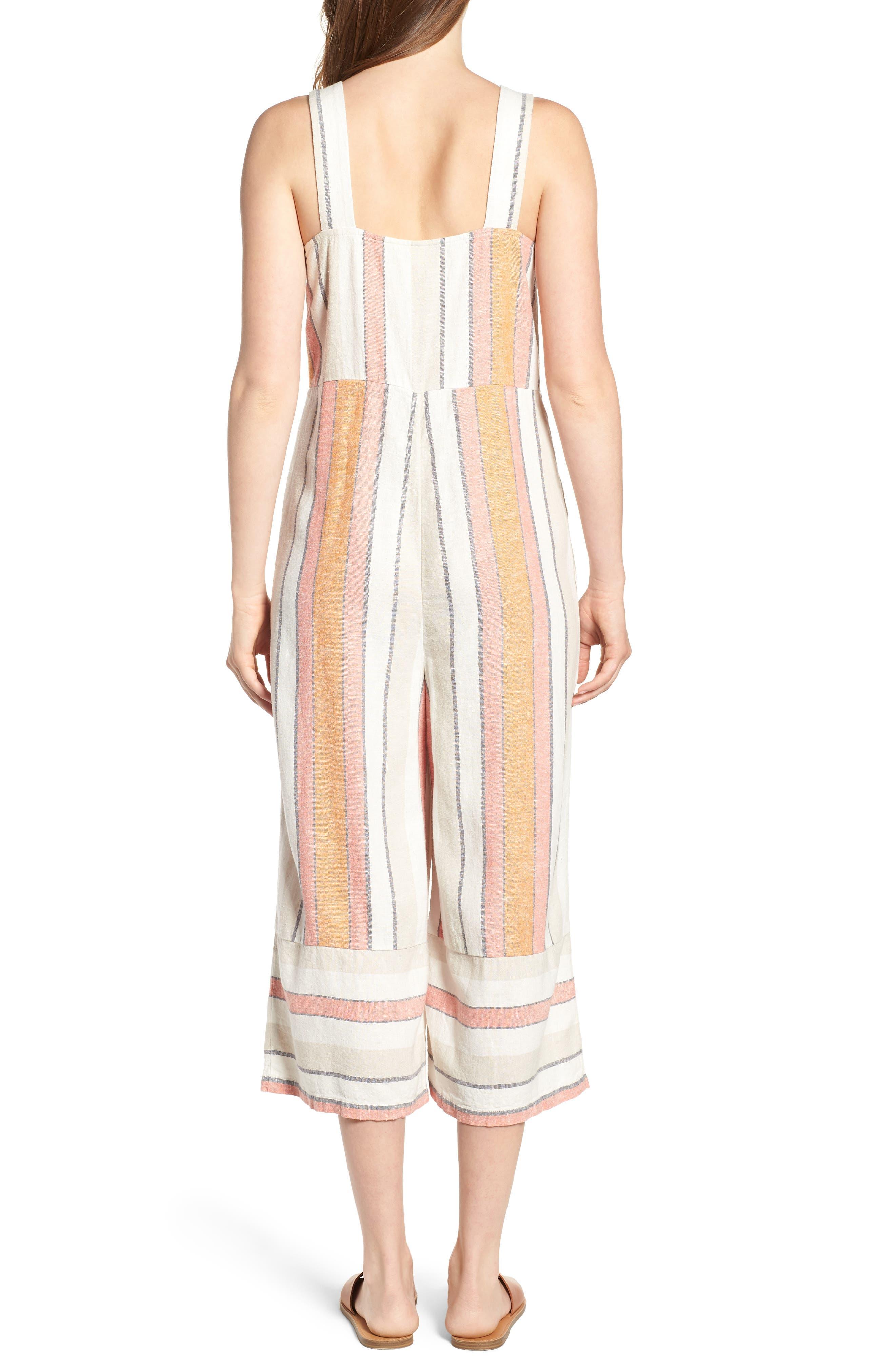 Stripe Surplice Jumpsuit,                             Alternate thumbnail 2, color,                             Ivy 70S Vertical Stripe
