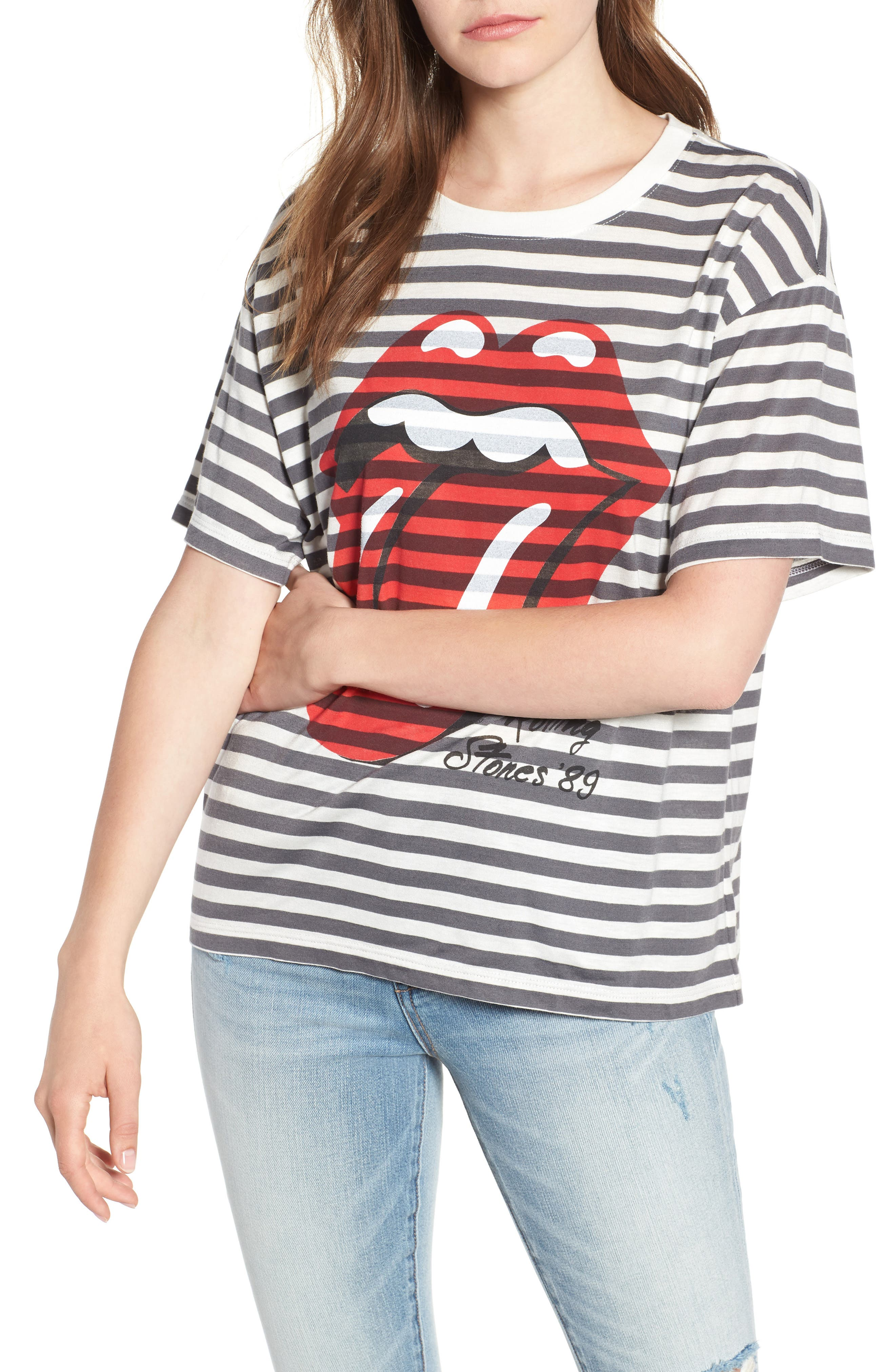 Rolling Stones Stripe Boyfriend Tee,                             Main thumbnail 1, color,                             White Stripe