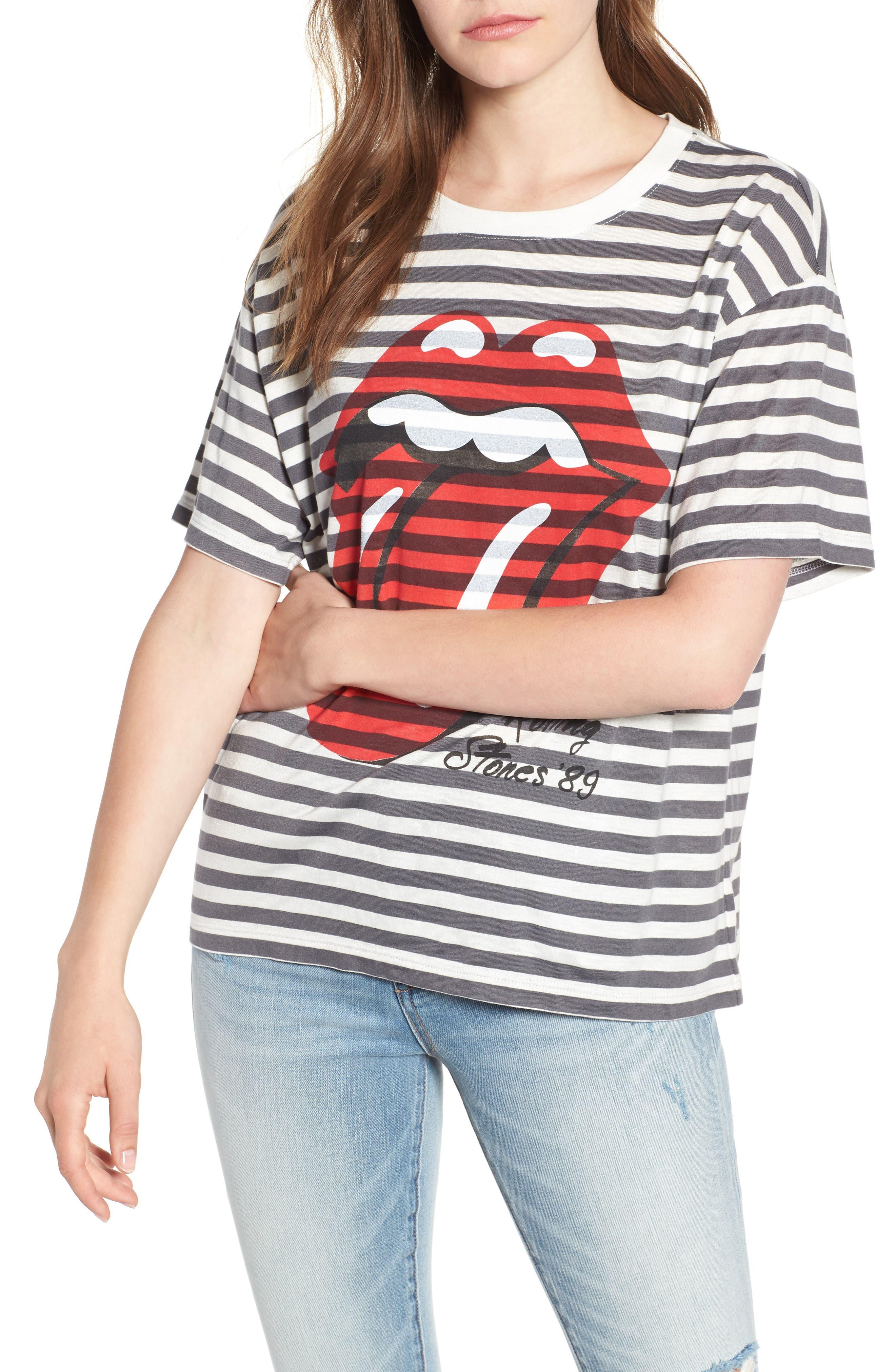 Rolling Stones Stripe Boyfriend Tee,                         Main,                         color, White Stripe