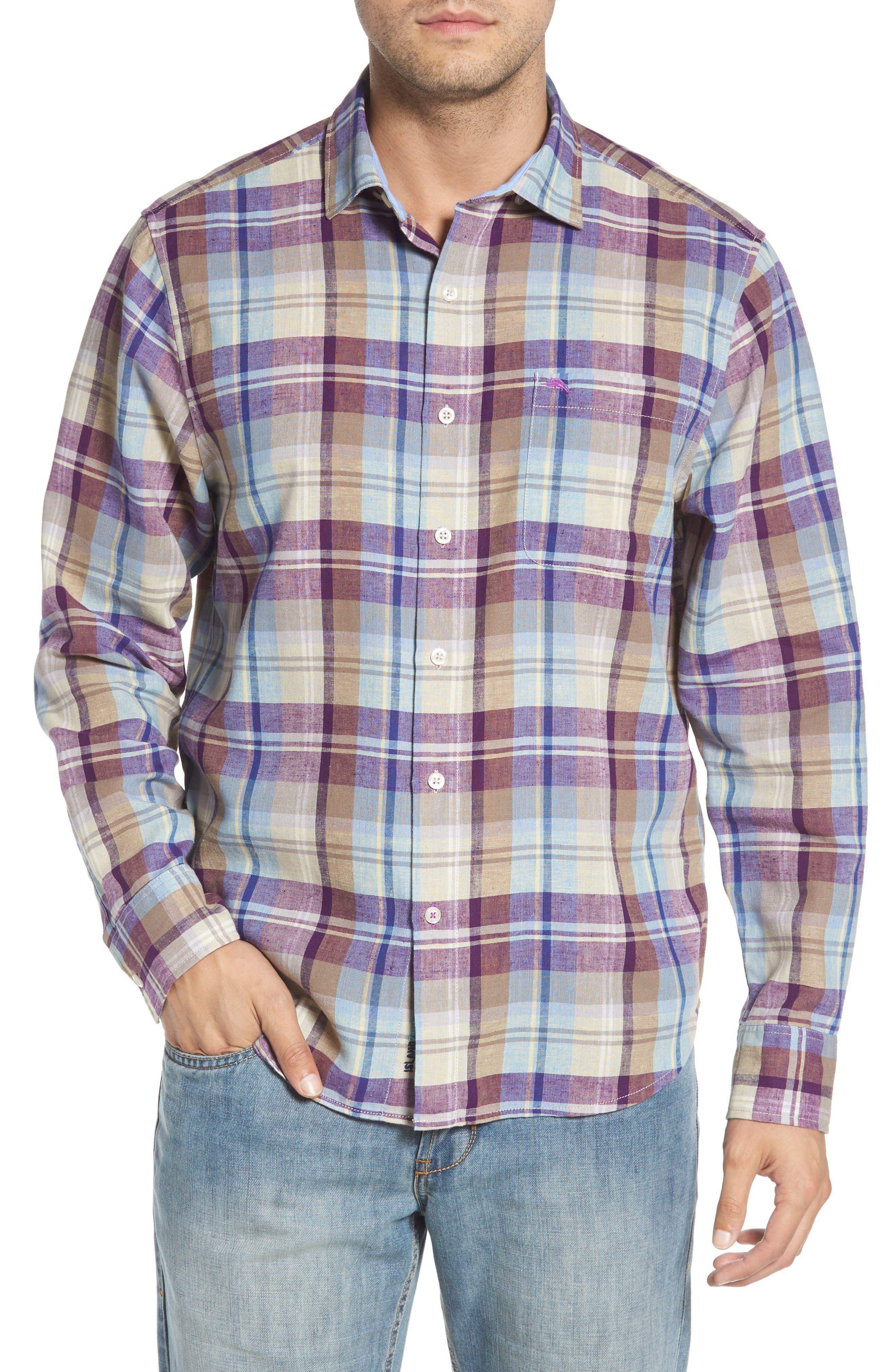 La Paz Plaid Linen Blend Sport Shirt,                             Main thumbnail 1, color,                             Sparkling Grape