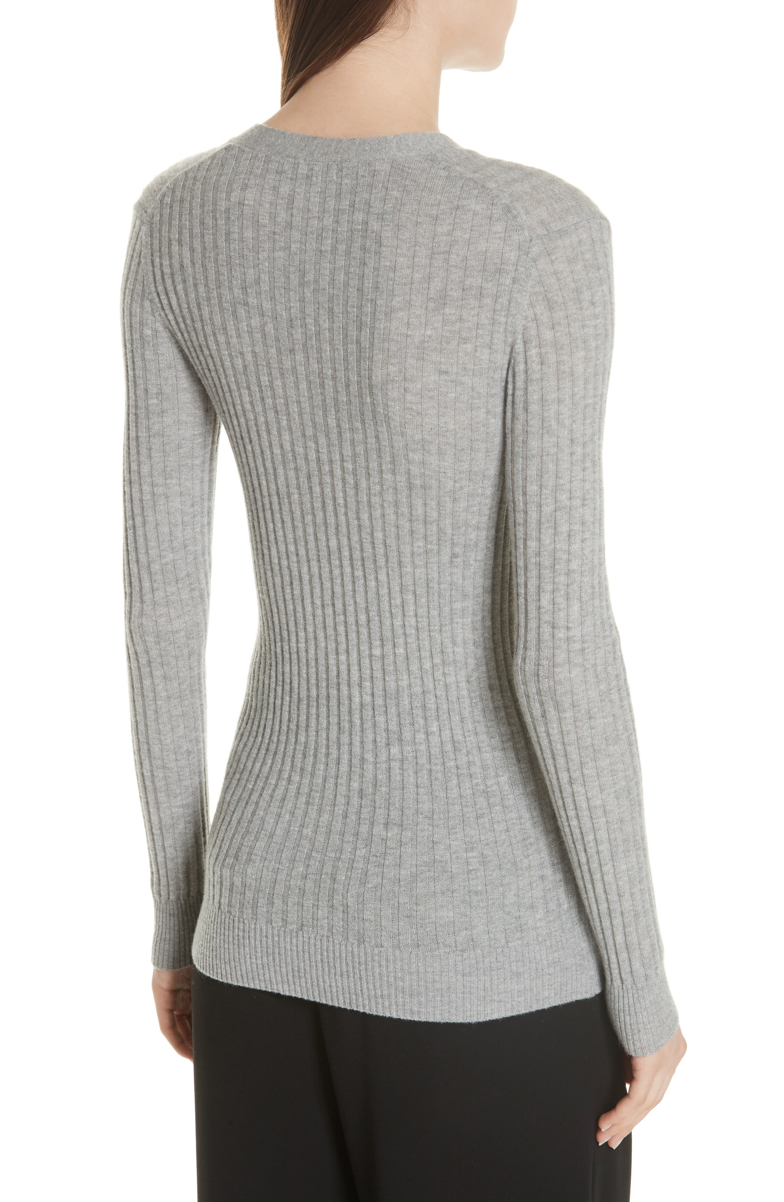 Ribbed Skinny Cashmere Cardigan,                             Alternate thumbnail 2, color,                             H Steel
