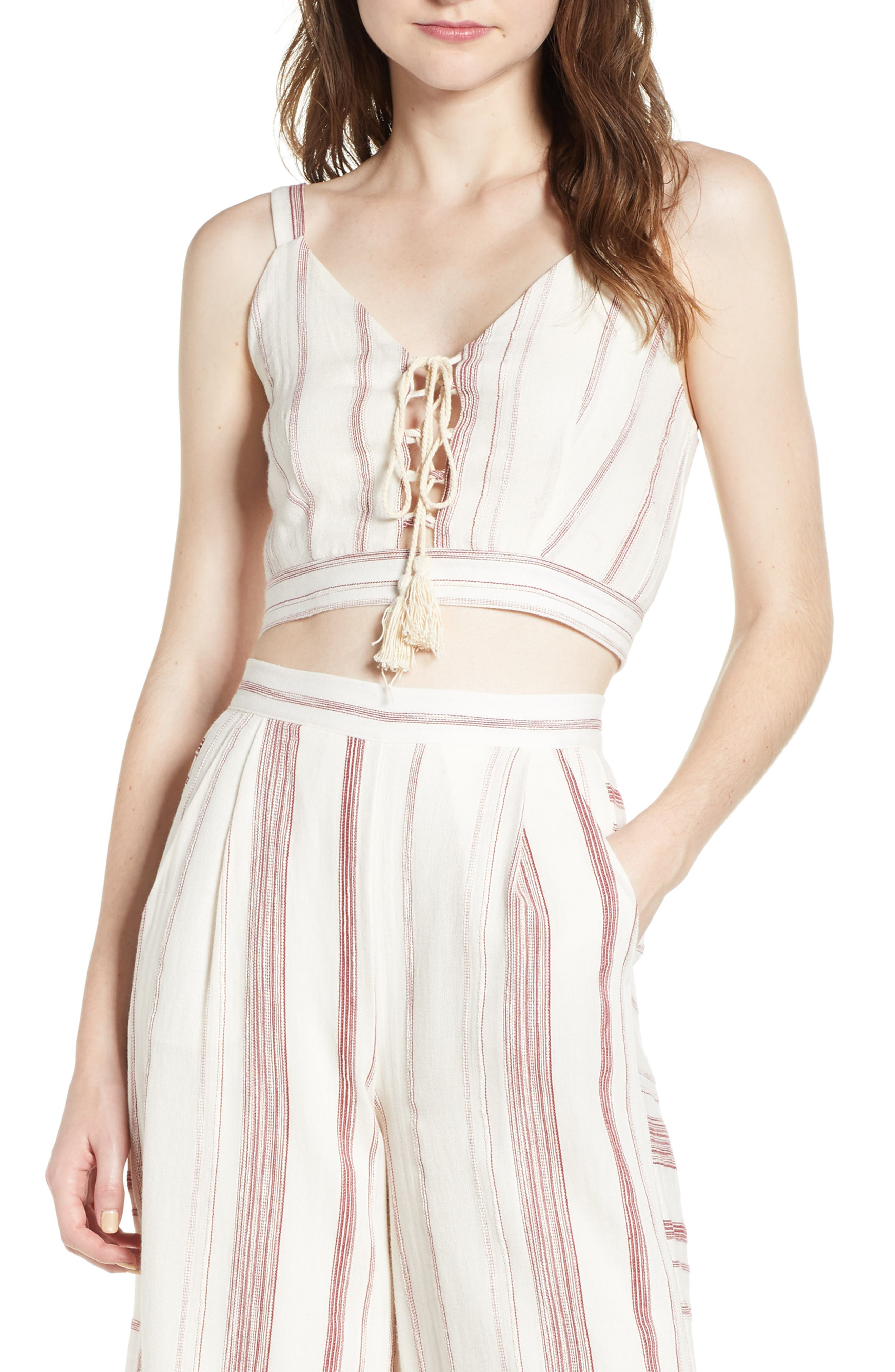 Mariana Stripe Lace-Up Crop Top,                         Main,                         color, Red/ Natural
