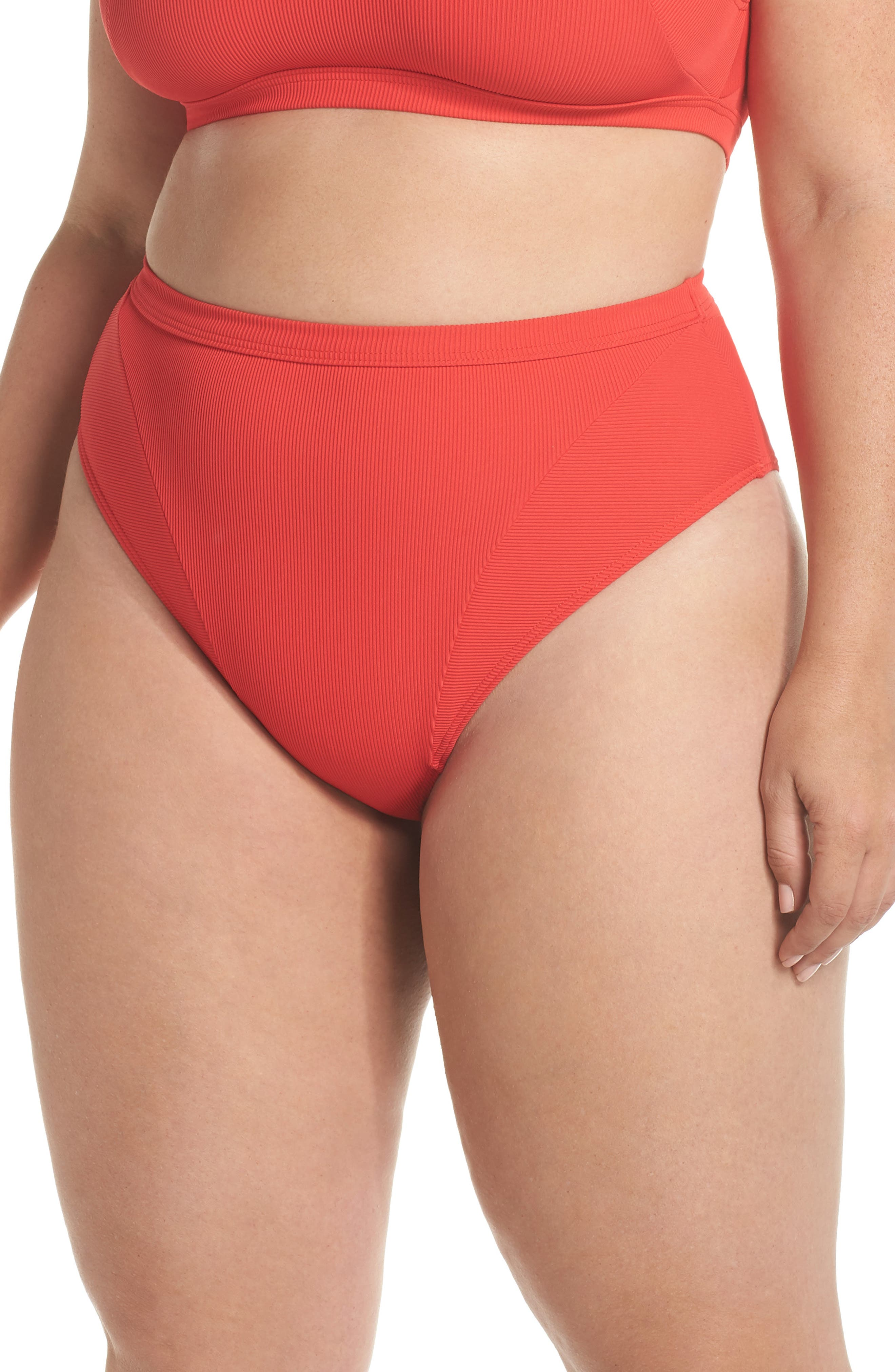 Ribbed Swim Bottoms,                         Main,                         color, Red