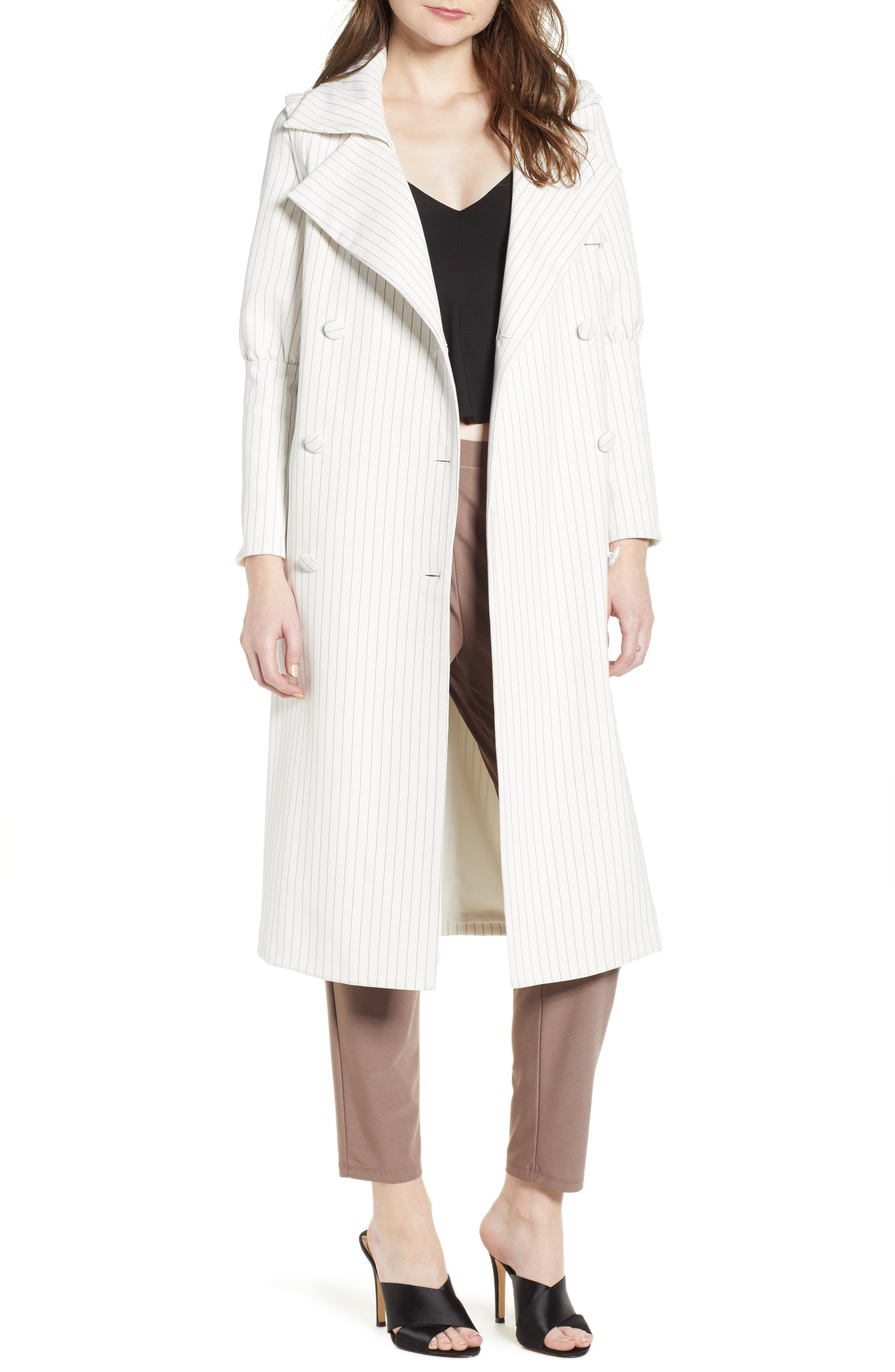 ELLIATT ROSALINE STRIPE TRENCH WITH DETACHABLE SLEEVES