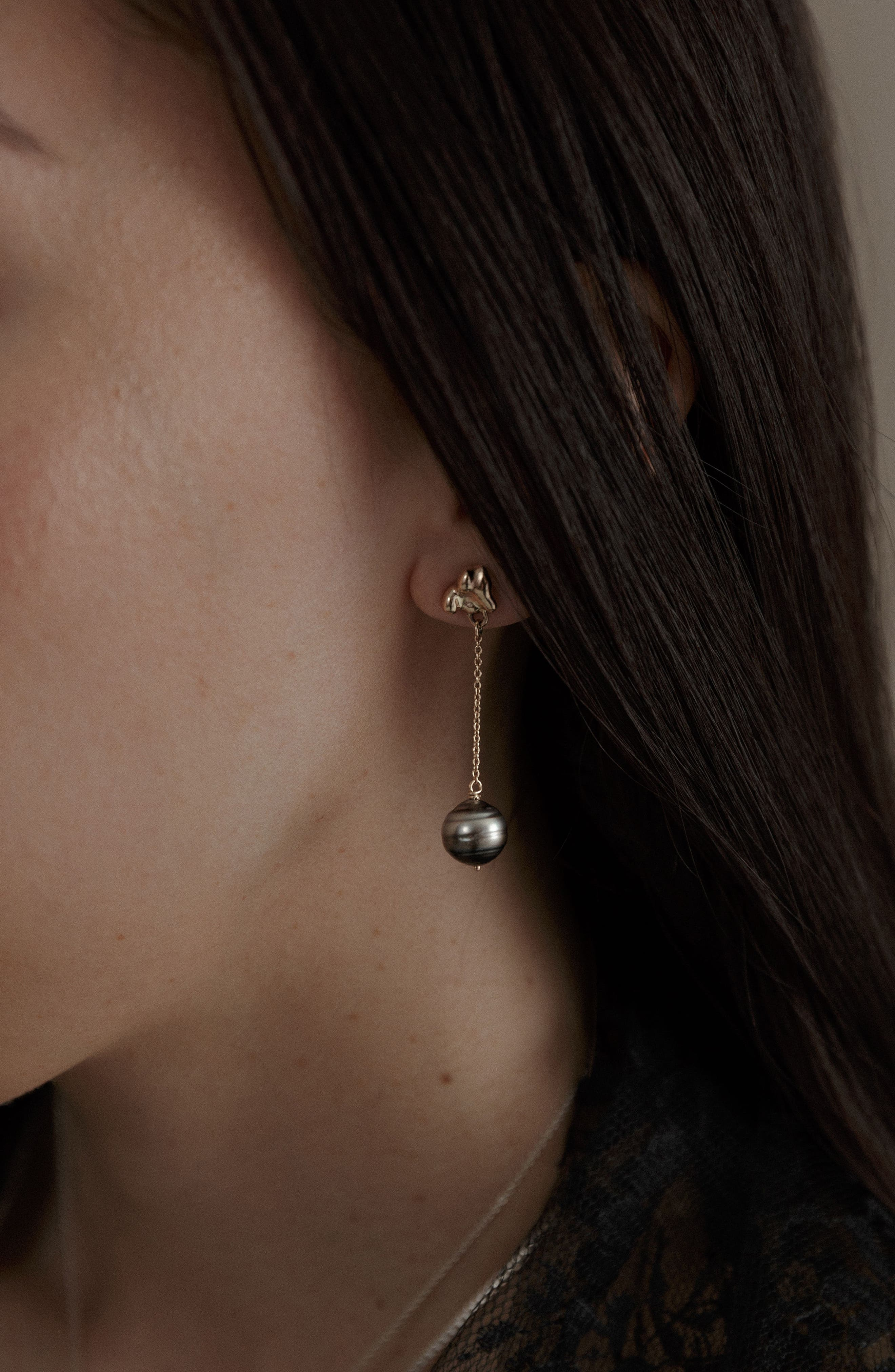 Black Pearl Drop Earrings,                             Alternate thumbnail 6, color,                             Gold/ Black Pearl