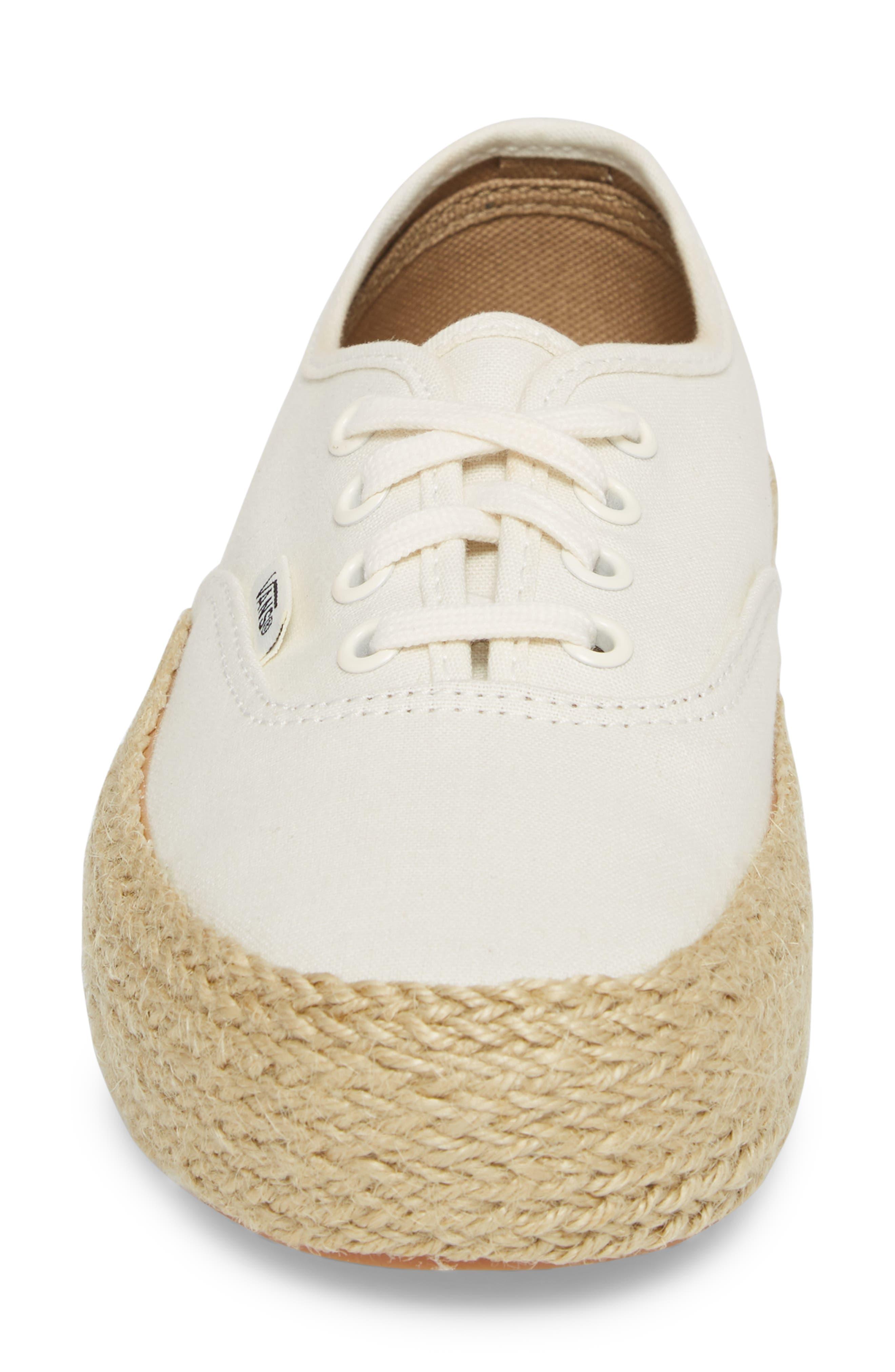 Authentic Espadrille Platform Sneaker,                             Alternate thumbnail 4, color,                             Marshmallow