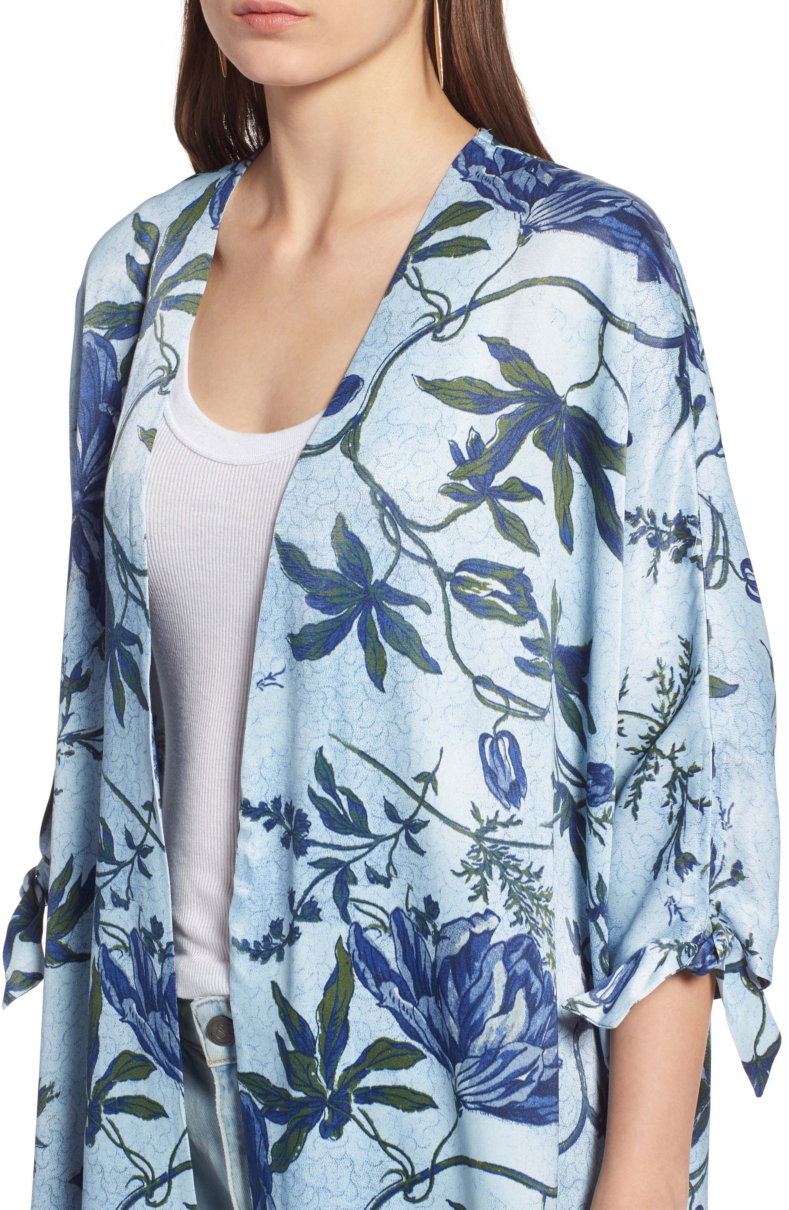 High/Low Kimono,                             Alternate thumbnail 4, color,                             Blue Trailing Vines Floral