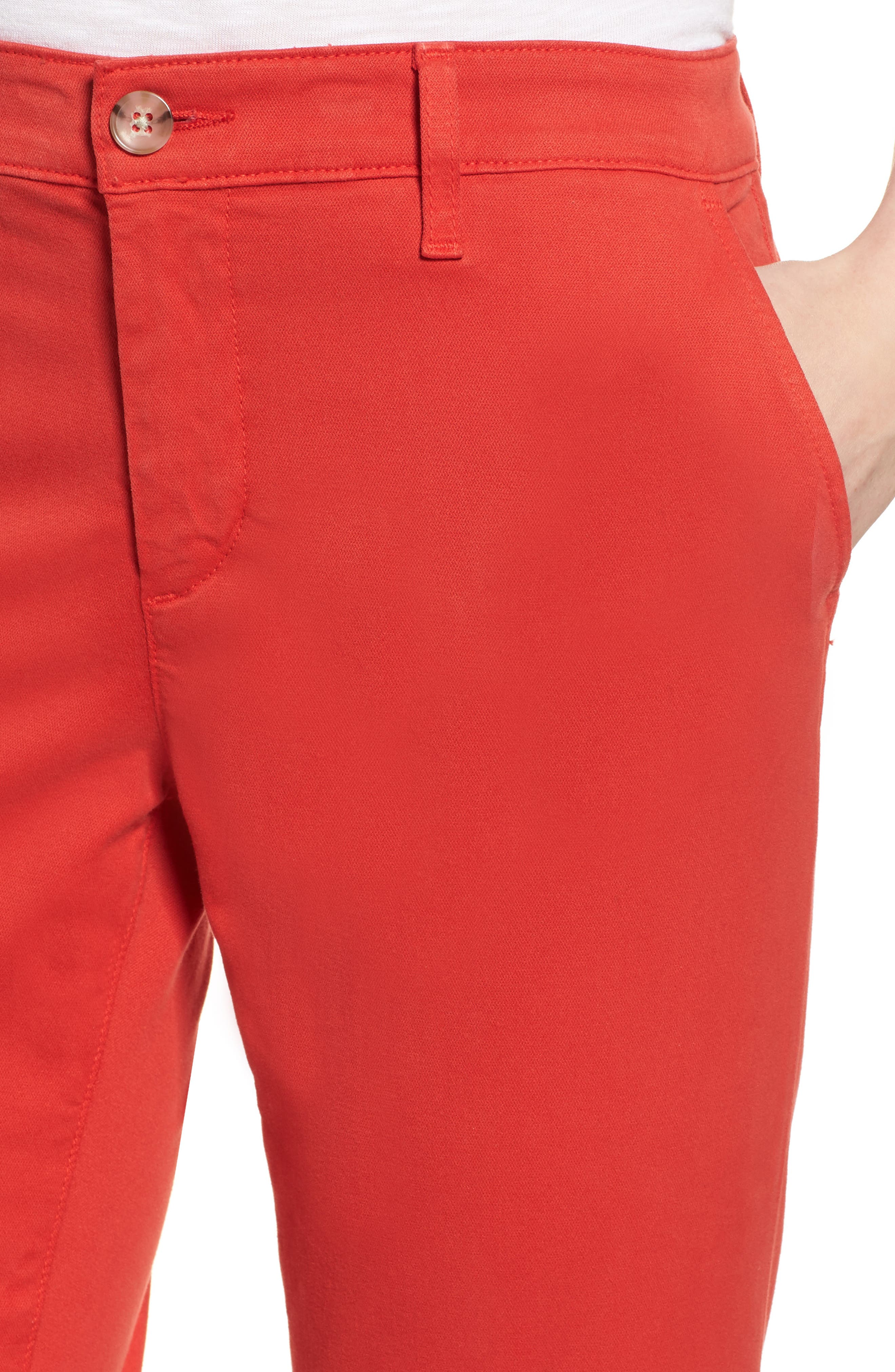 Caden Crop Twill Trousers,                             Alternate thumbnail 4, color,                             Red Poppy