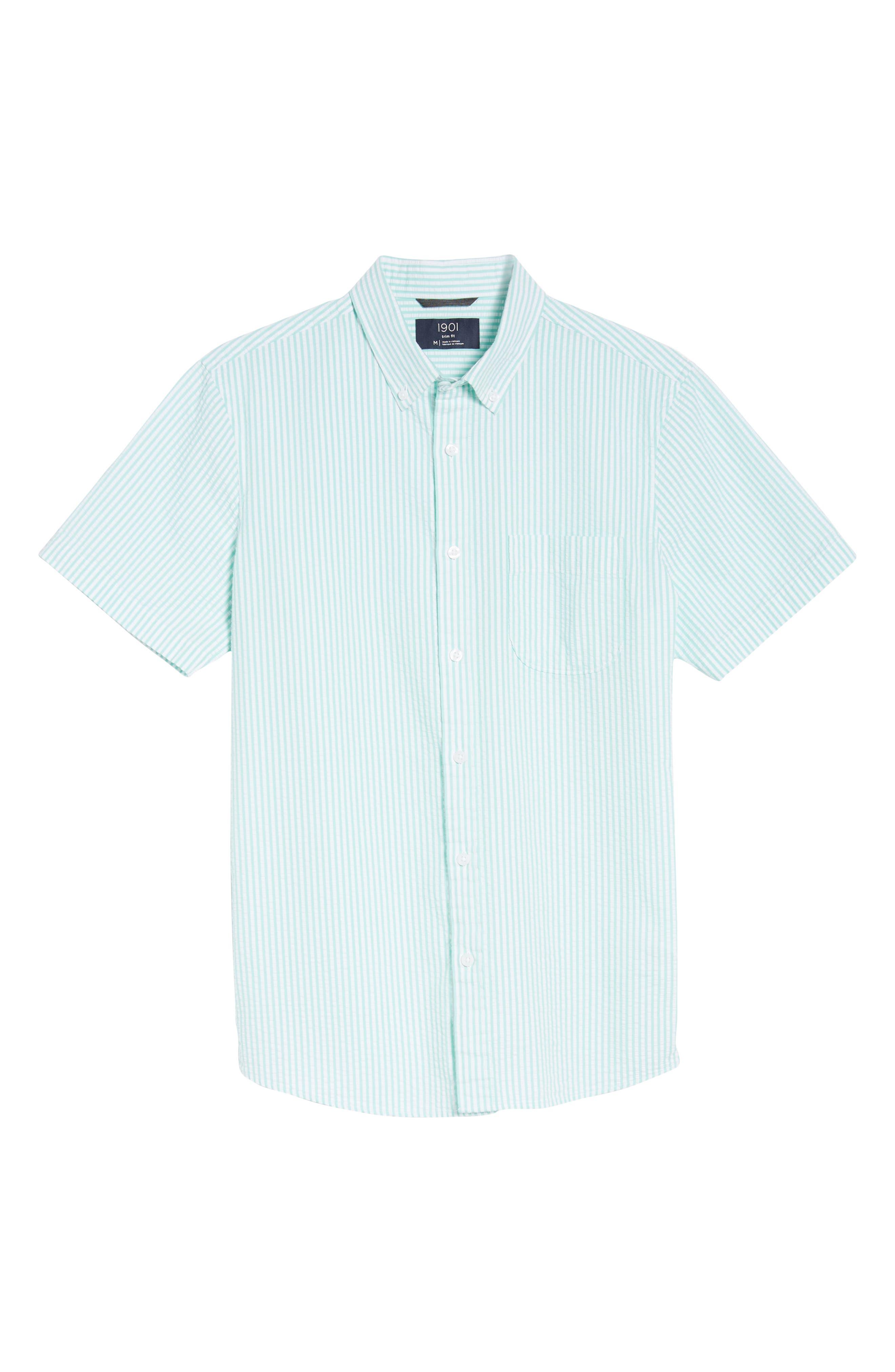 Trim Fit Seersucker Short Sleeve Sport Shirt,                             Alternate thumbnail 6, color,                             White Green Seersucker Stripe
