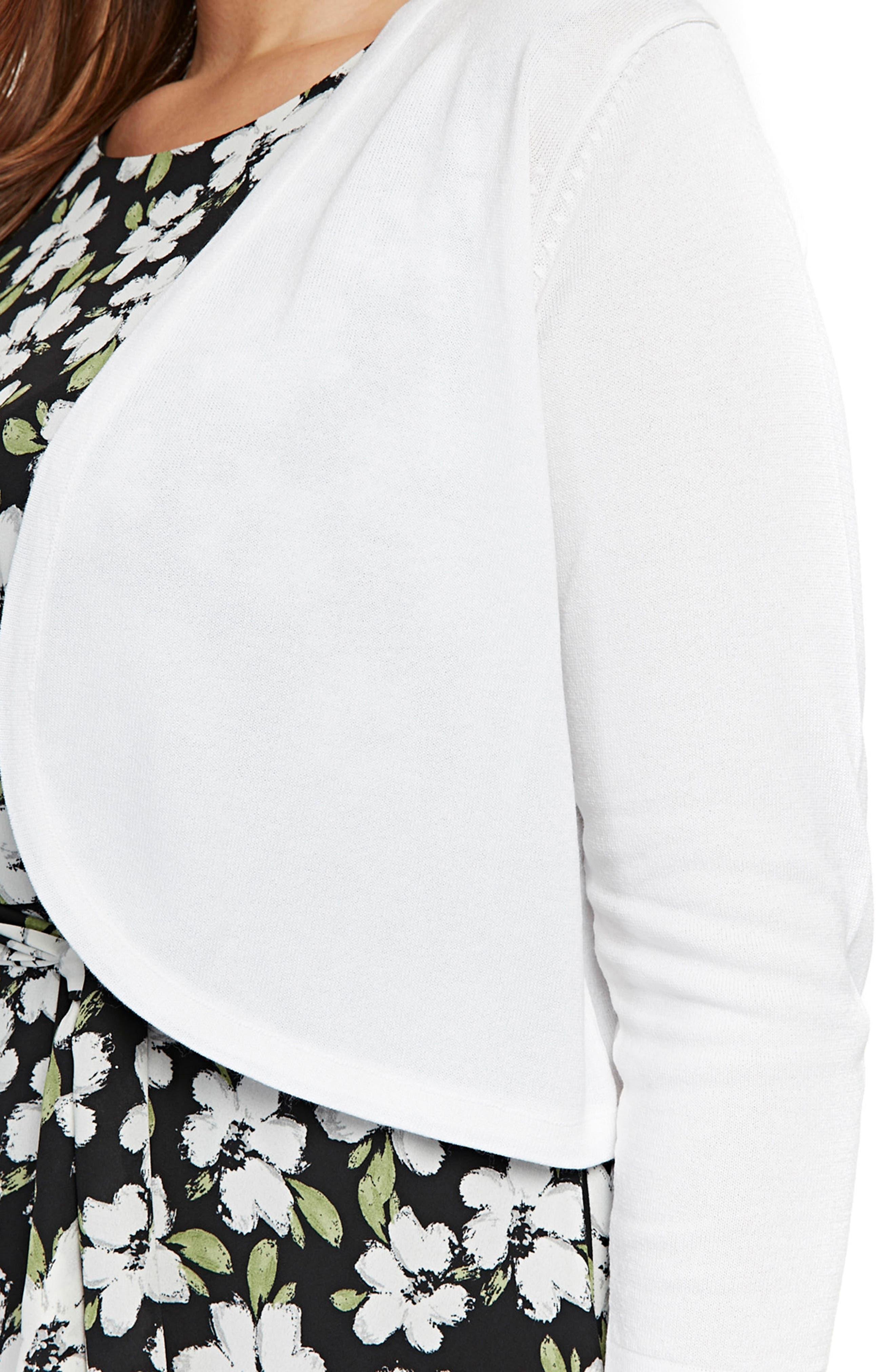 Curve Shrug Sweater,                             Alternate thumbnail 4, color,                             Ivory