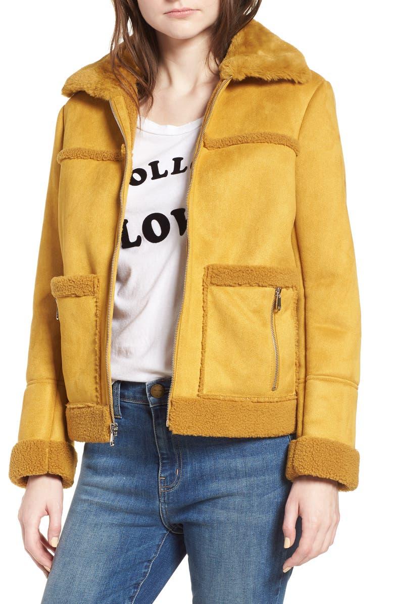 Faux Shearling Zip Front Jacket