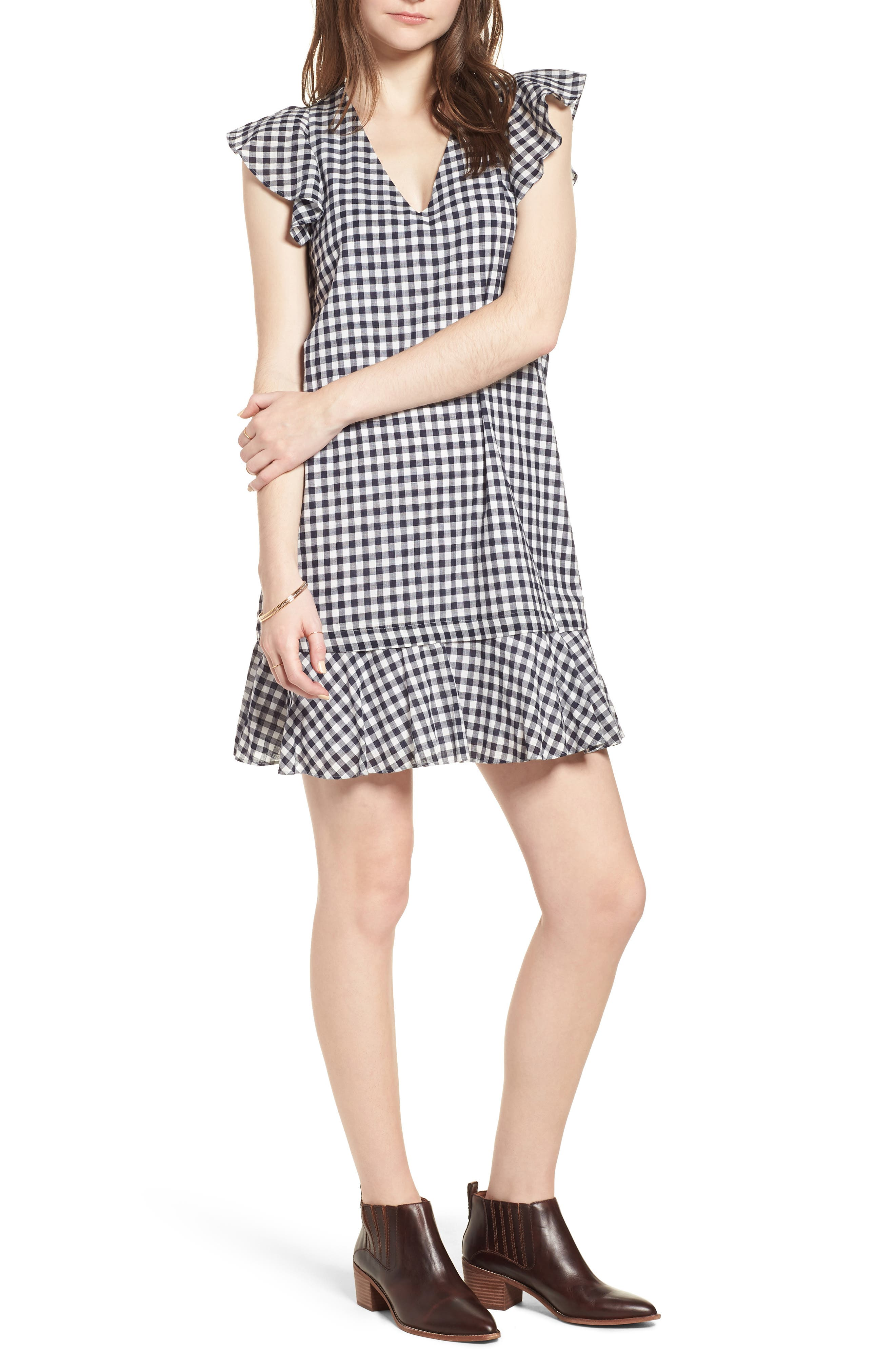 Ruffle Gingham Shift,                             Main thumbnail 1, color,                             Deep Indigo