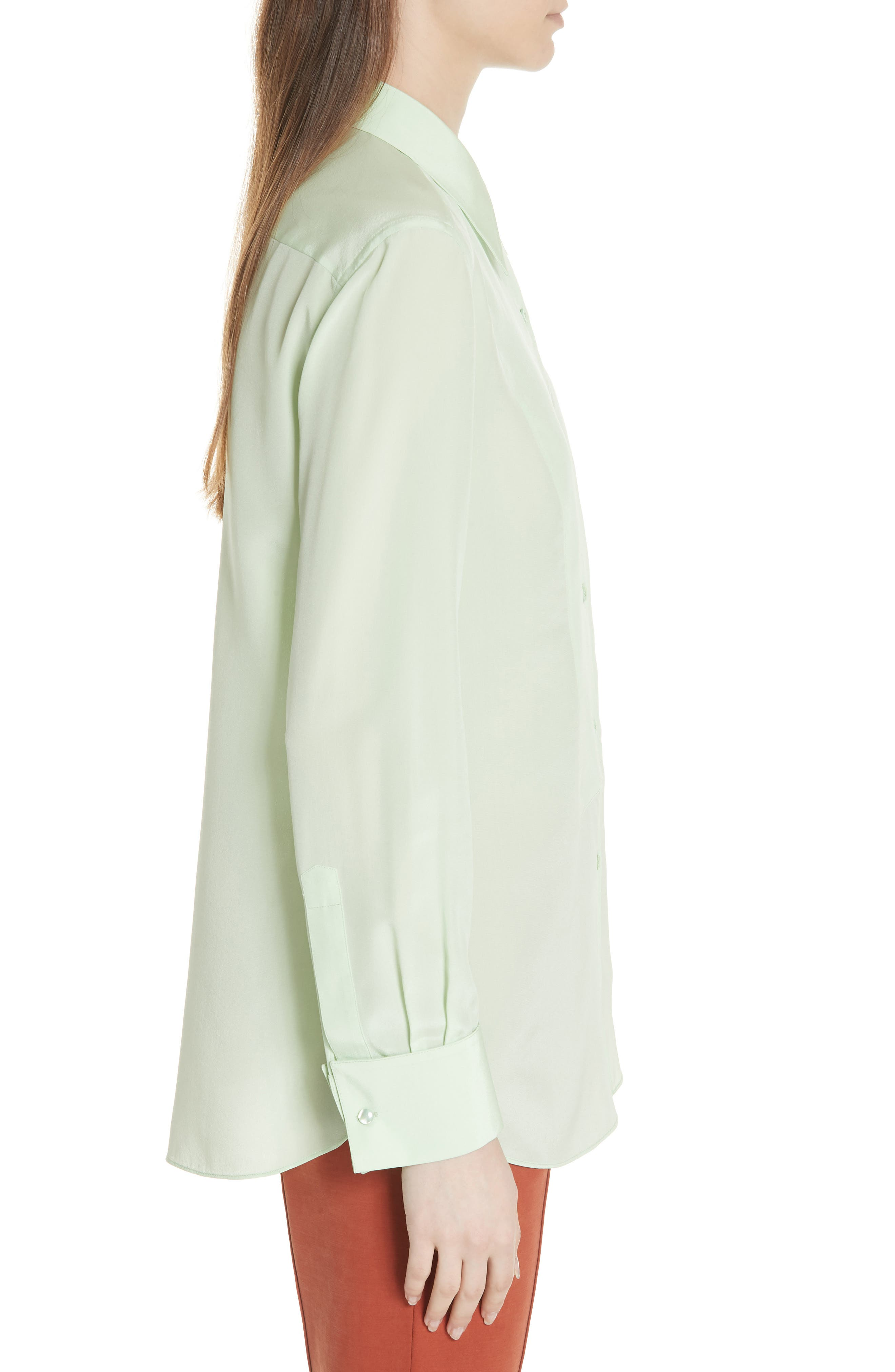 Janet Silk Top,                             Alternate thumbnail 3, color,                             Crushed Mint