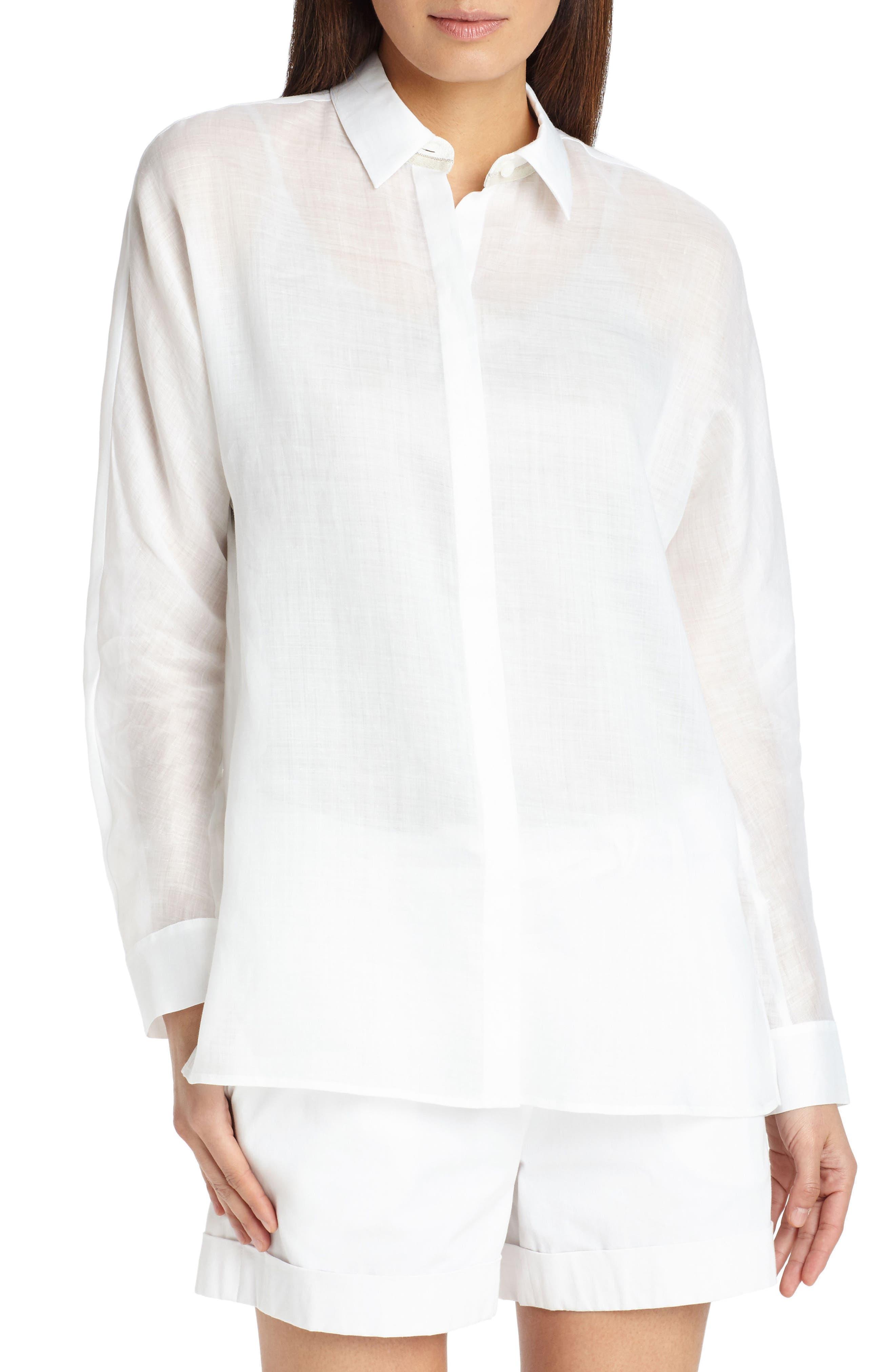 Alyssa Gemma Cloth Blouse,                         Main,                         color, White