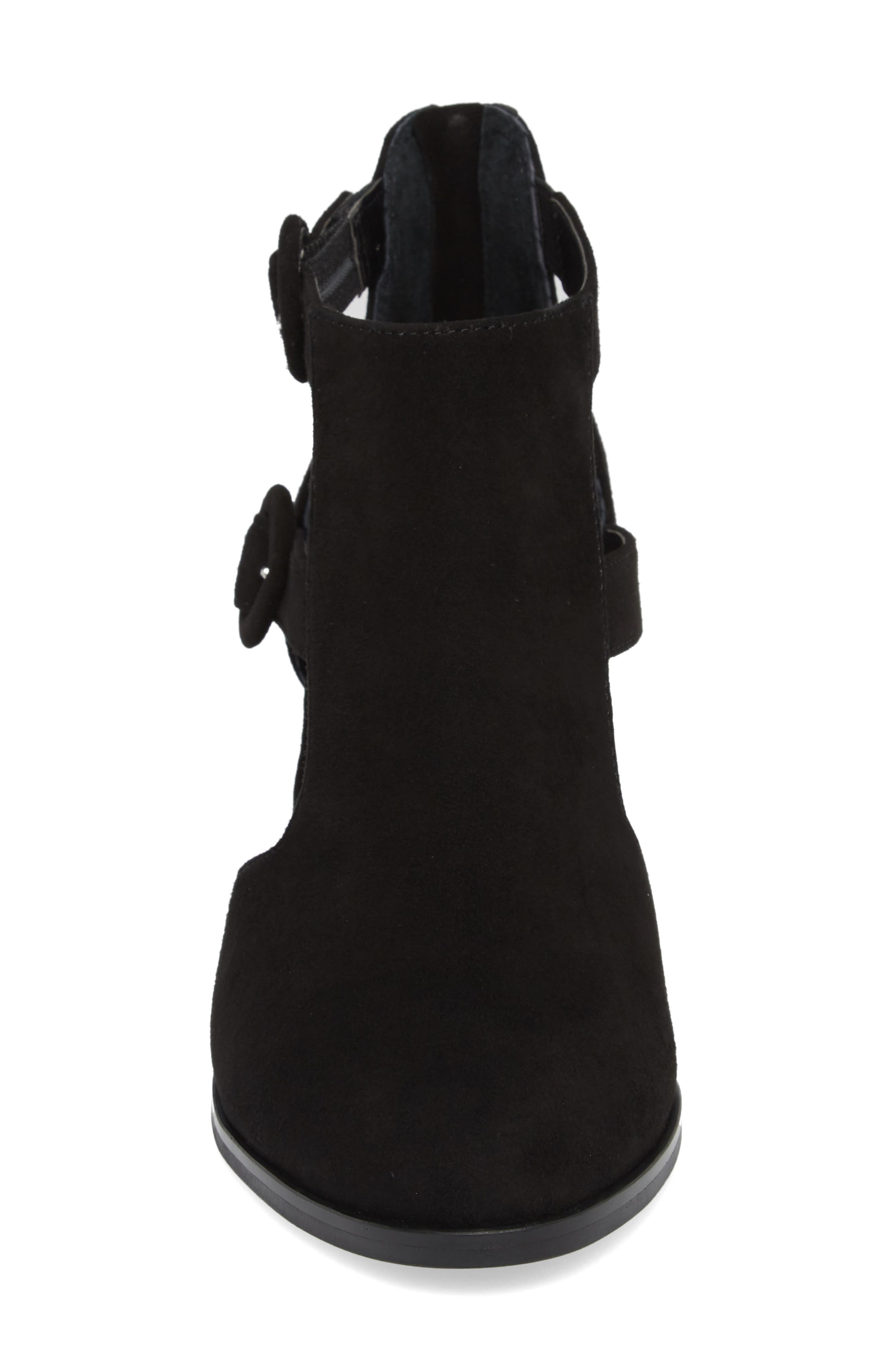 Exotic Caged Bootie,                             Alternate thumbnail 4, color,                             Black Suede