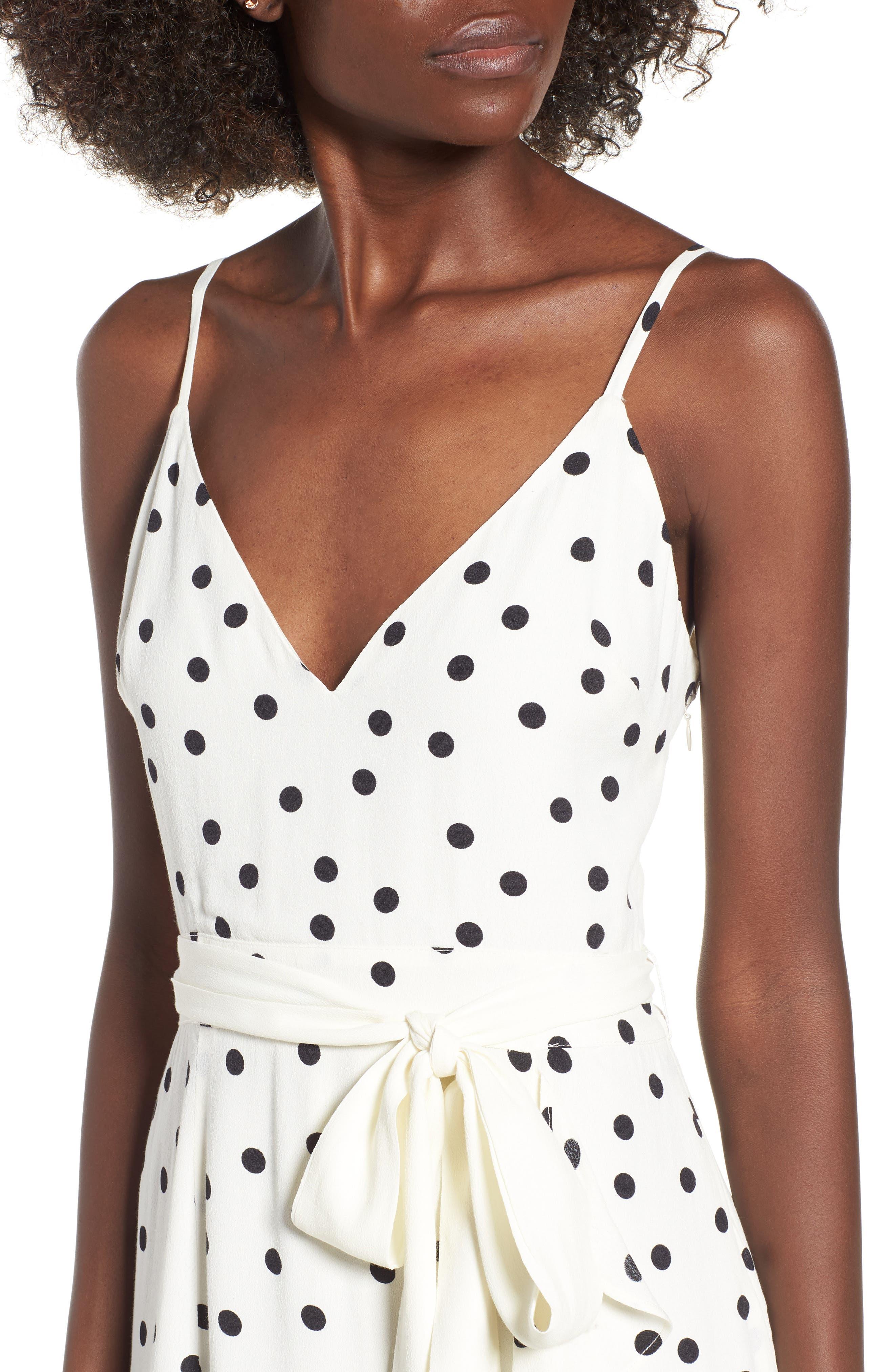 Bridget Midi Dress,                             Alternate thumbnail 4, color,                             Ivory/ Black