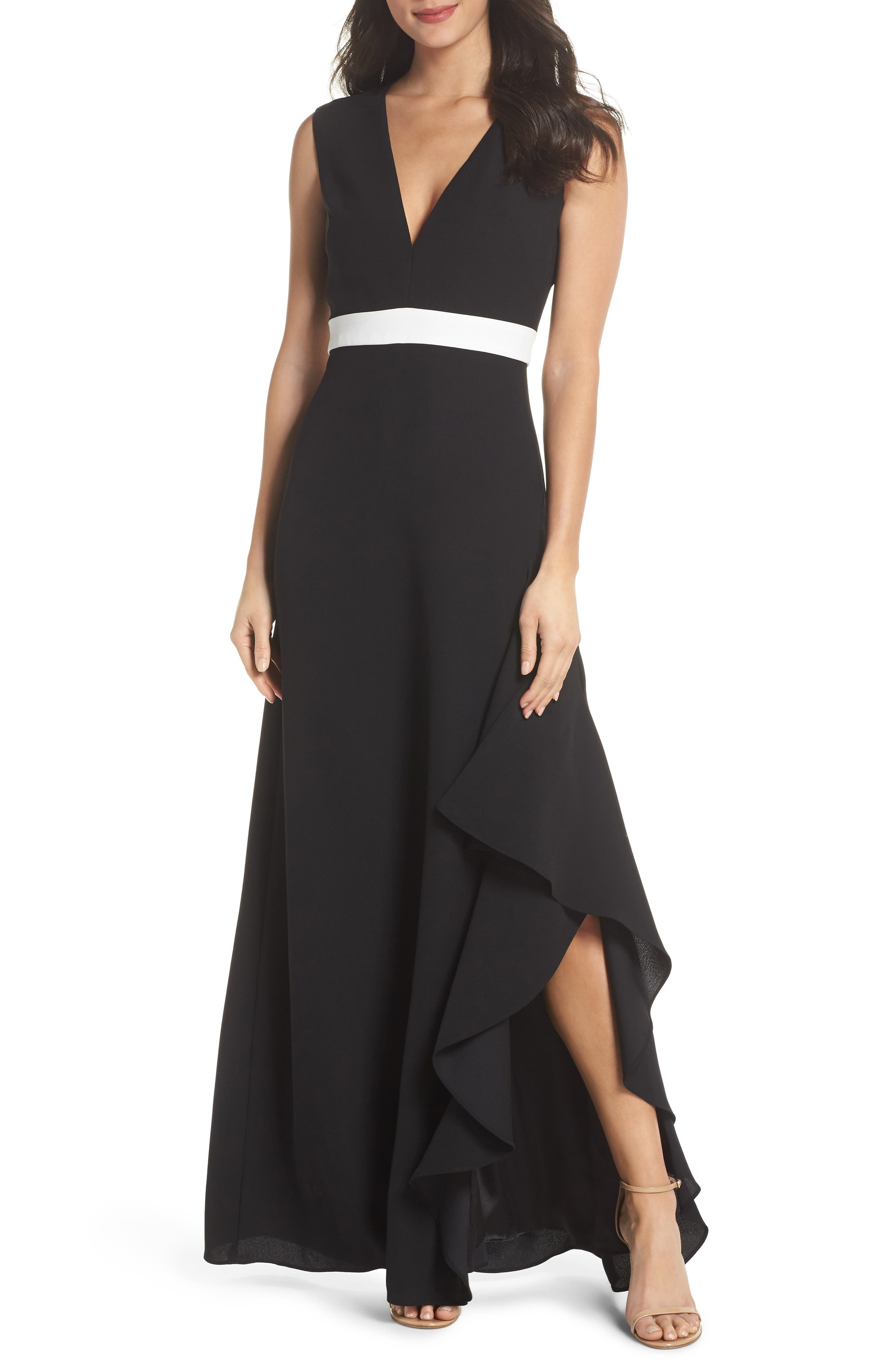 ML Monique Lhullier Sleeveless Crepe Gown,                             Main thumbnail 1, color,                             Black/ White