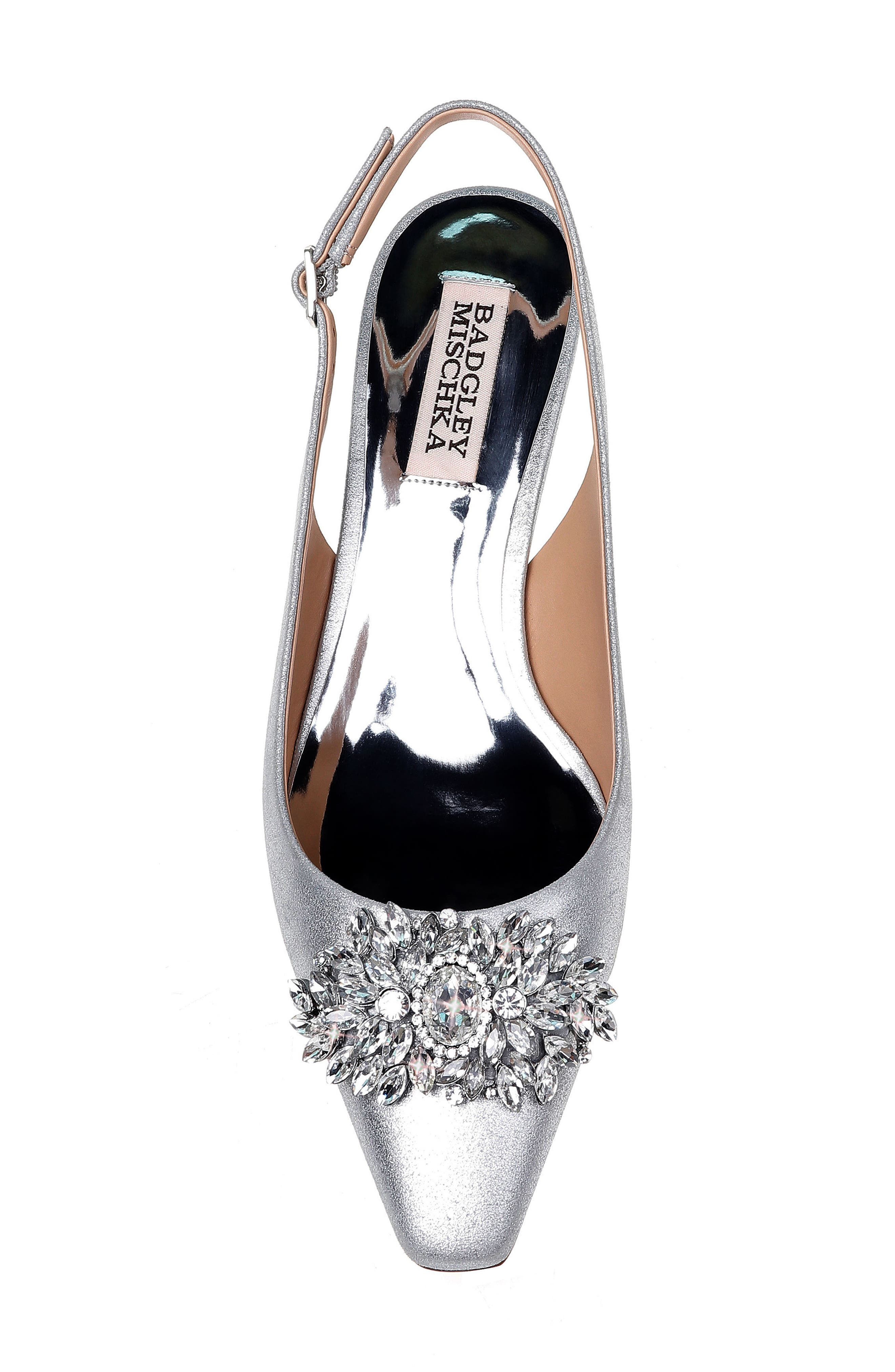 Page Slingback Pump,                             Alternate thumbnail 5, color,                             Silver Metallic Suede