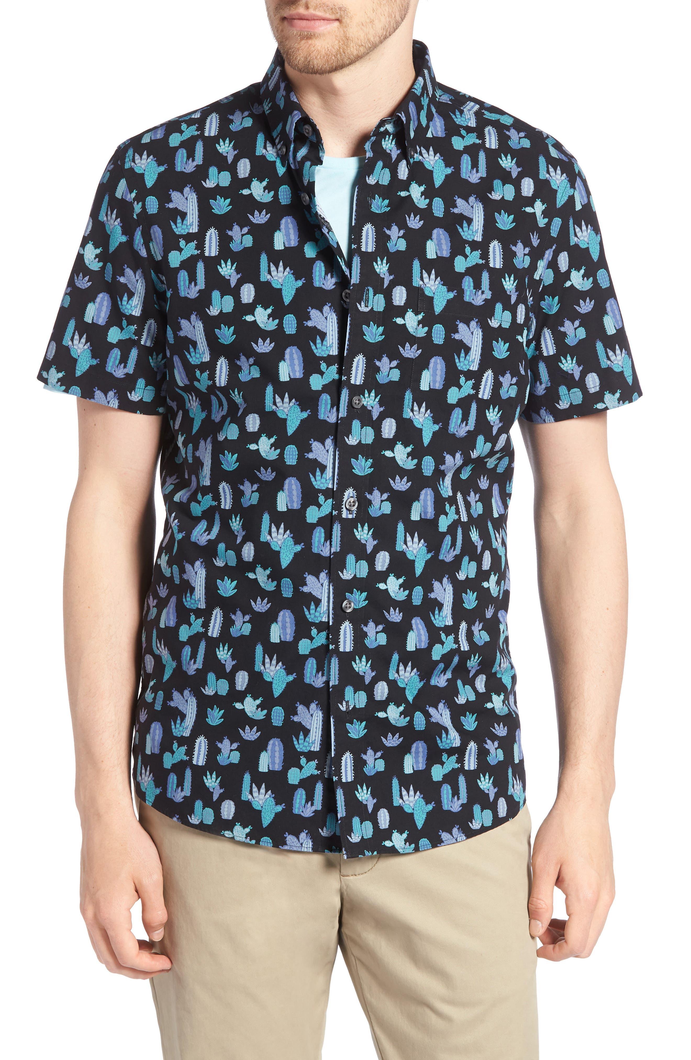 Trim Fit Cactus Print Sport Shirt,                         Main,                         color, Grey Onyx Short Cacti