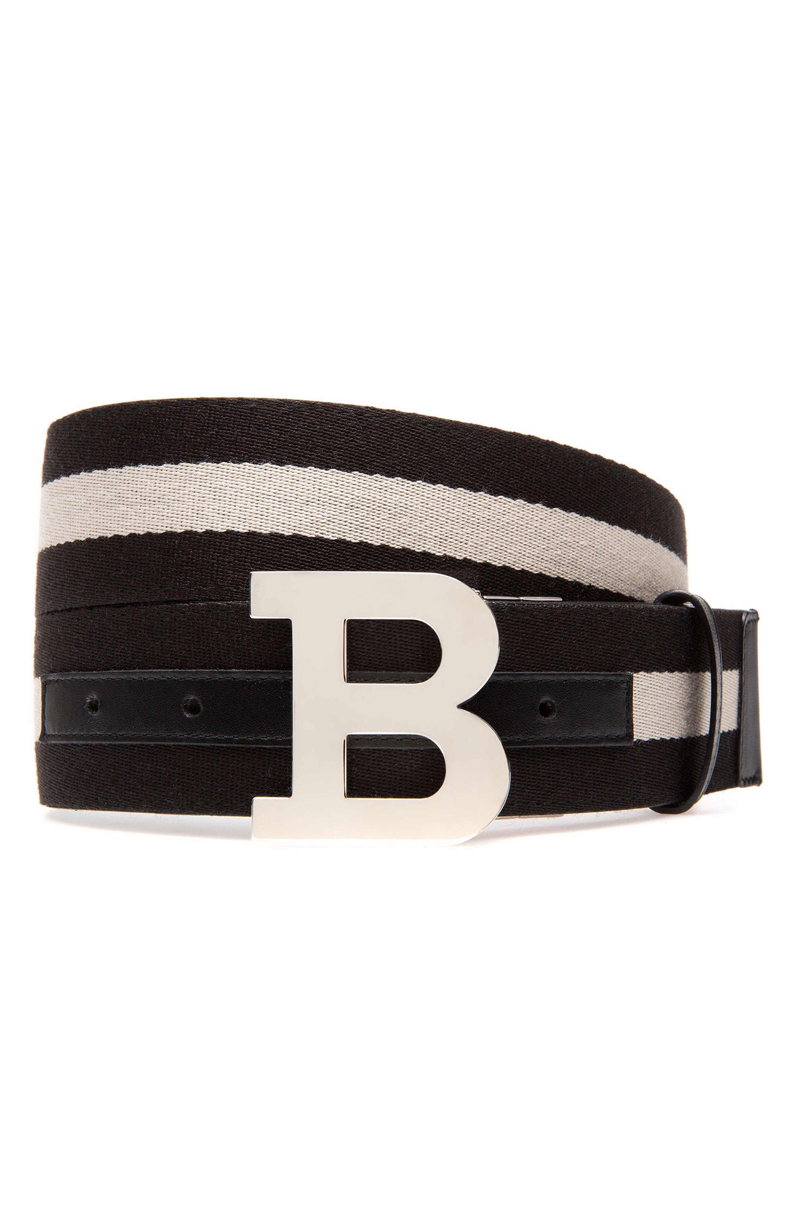B-Buckle Reversible Webbed Belt,                             Main thumbnail 1, color,                             Black/ Bone