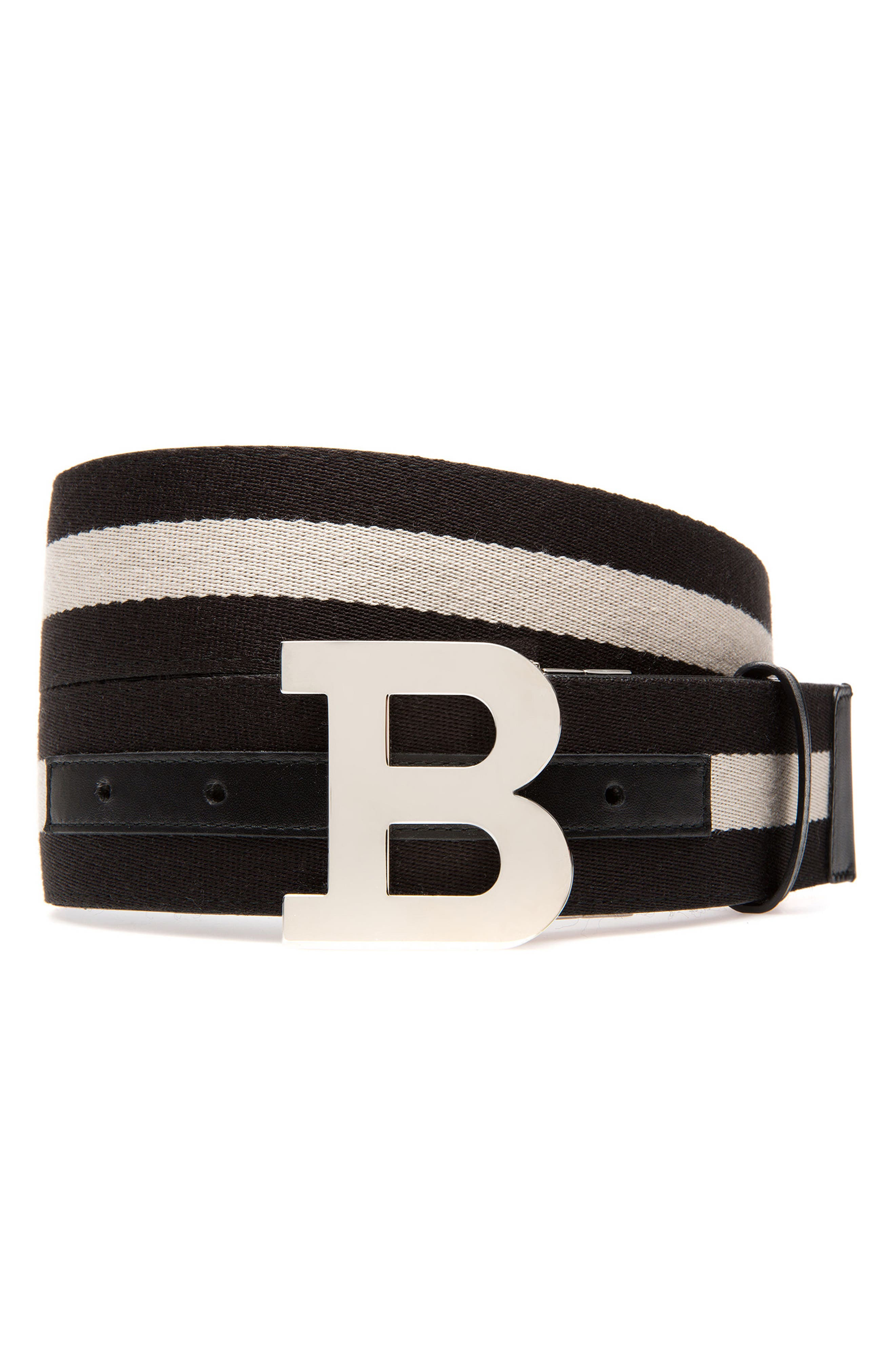 B-Buckle Reversible Webbed Belt,                         Main,                         color, Black/ Bone