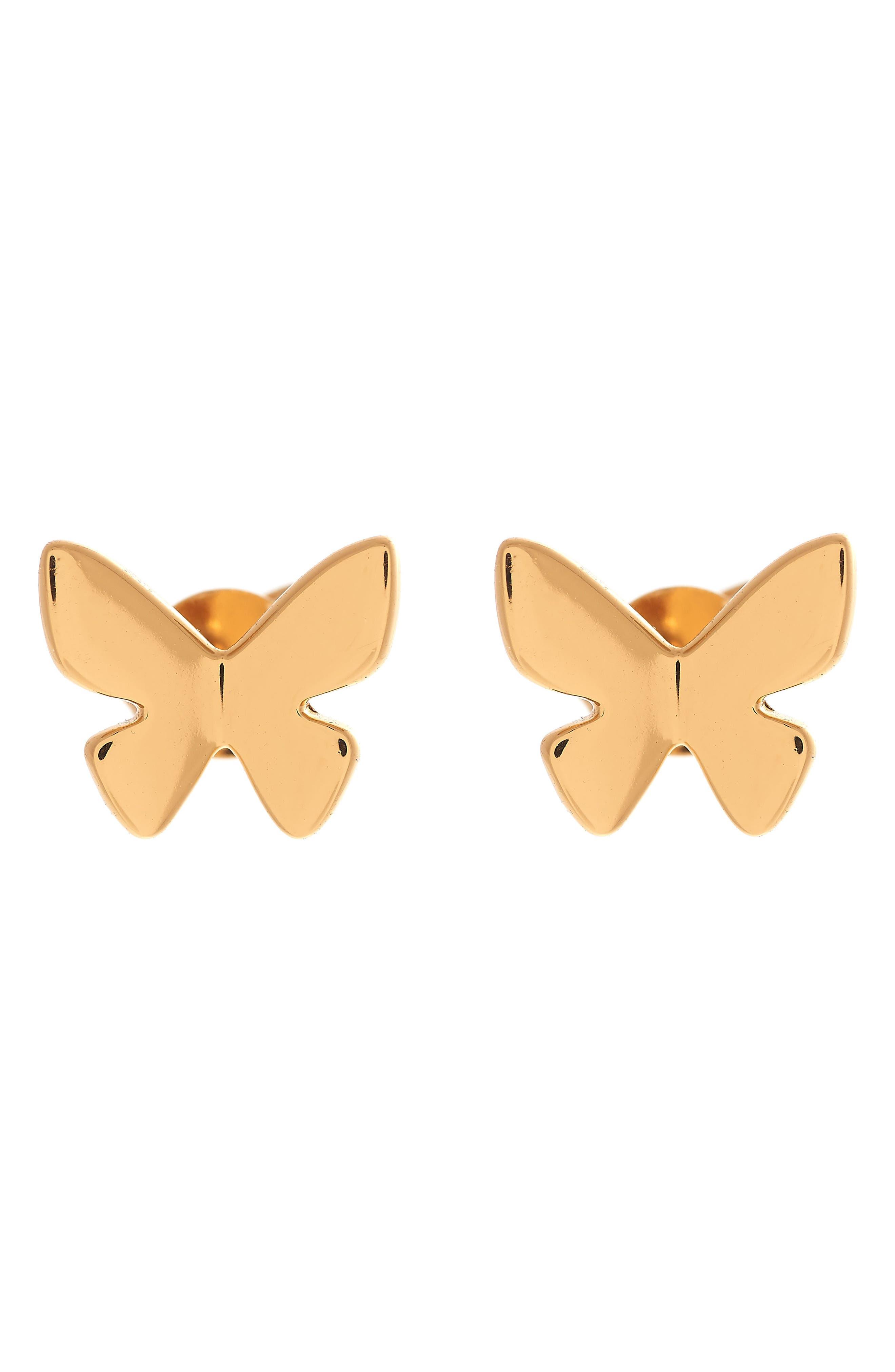 Social Butterfly Stud Earrings,                             Main thumbnail 1, color,                             Gold