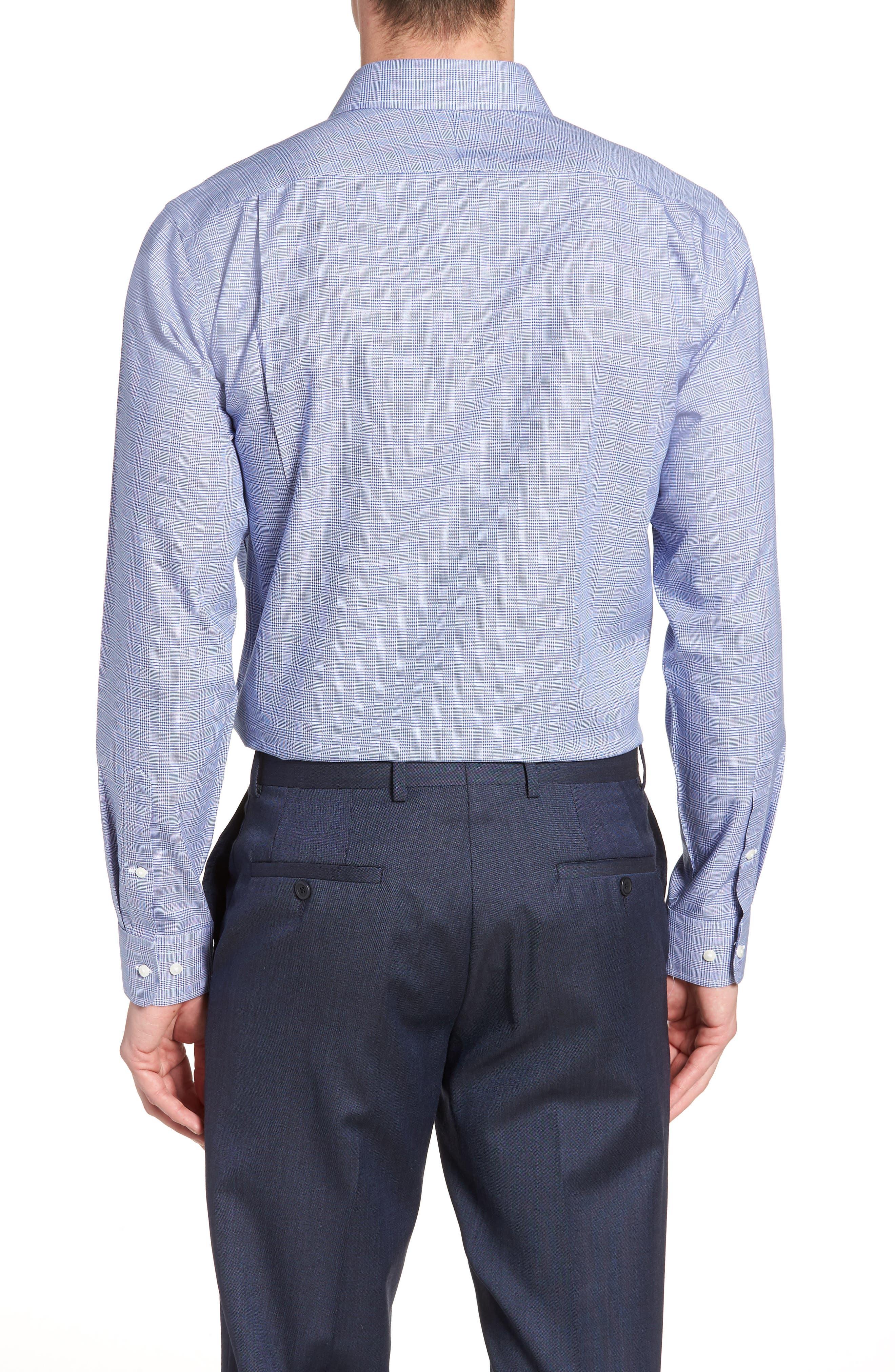 Smartcare<sup>™</sup> Trim Fit Herringbone Dress Shirt,                             Alternate thumbnail 3, color,                             Blue Marine