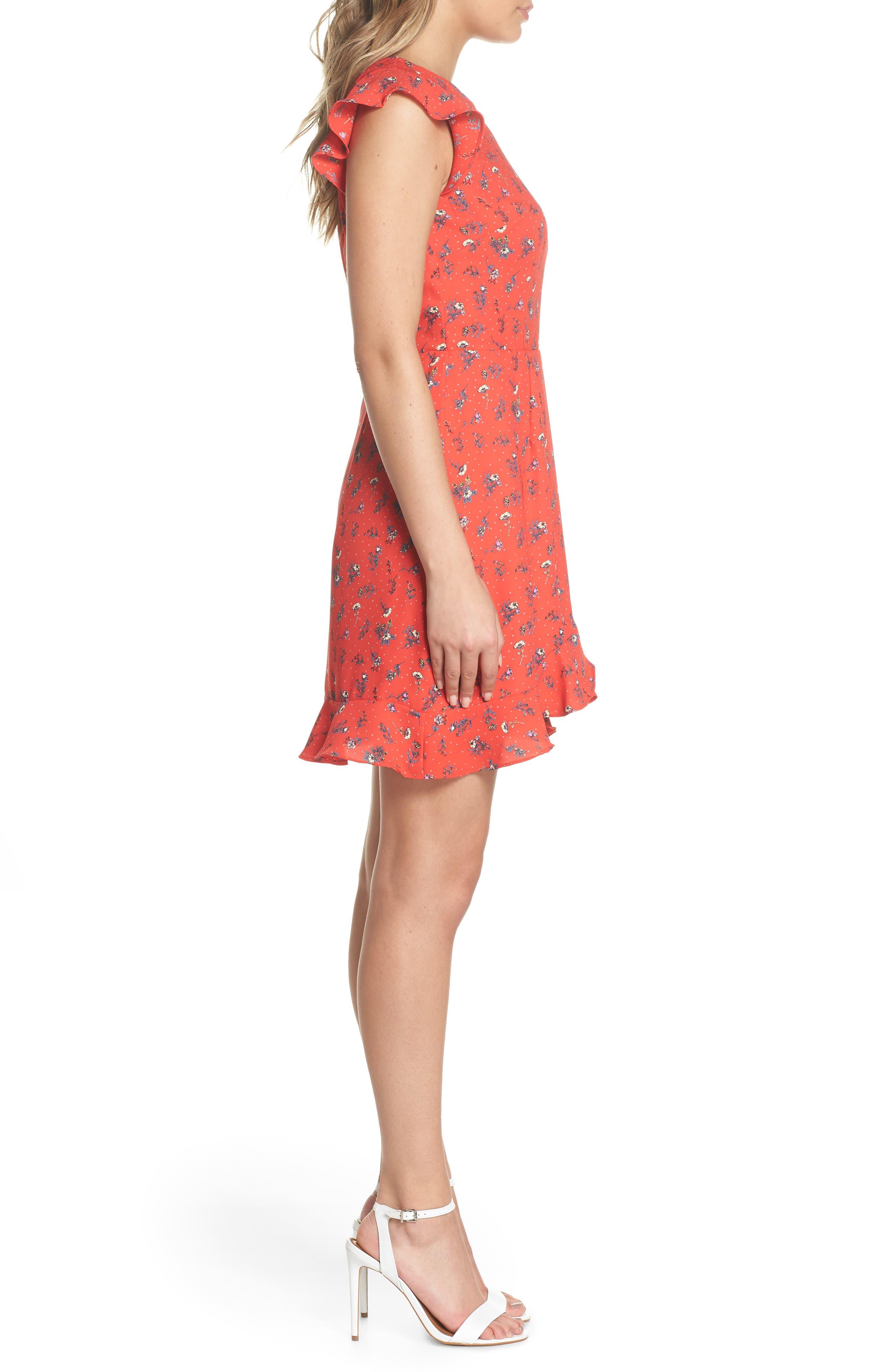 Flutter Sleeve Ruffle Hem Dress,                             Alternate thumbnail 3, color,                             Red Floral Print