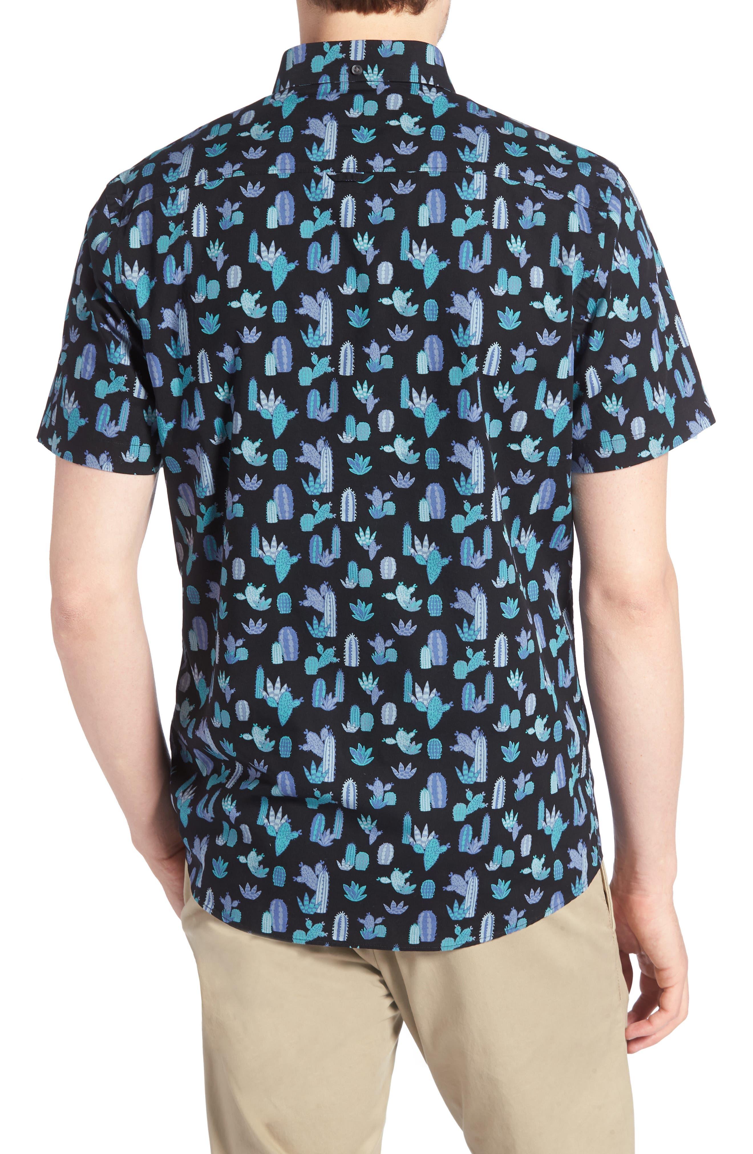 Trim Fit Cactus Print Sport Shirt,                             Alternate thumbnail 3, color,                             Grey Onyx Short Cacti