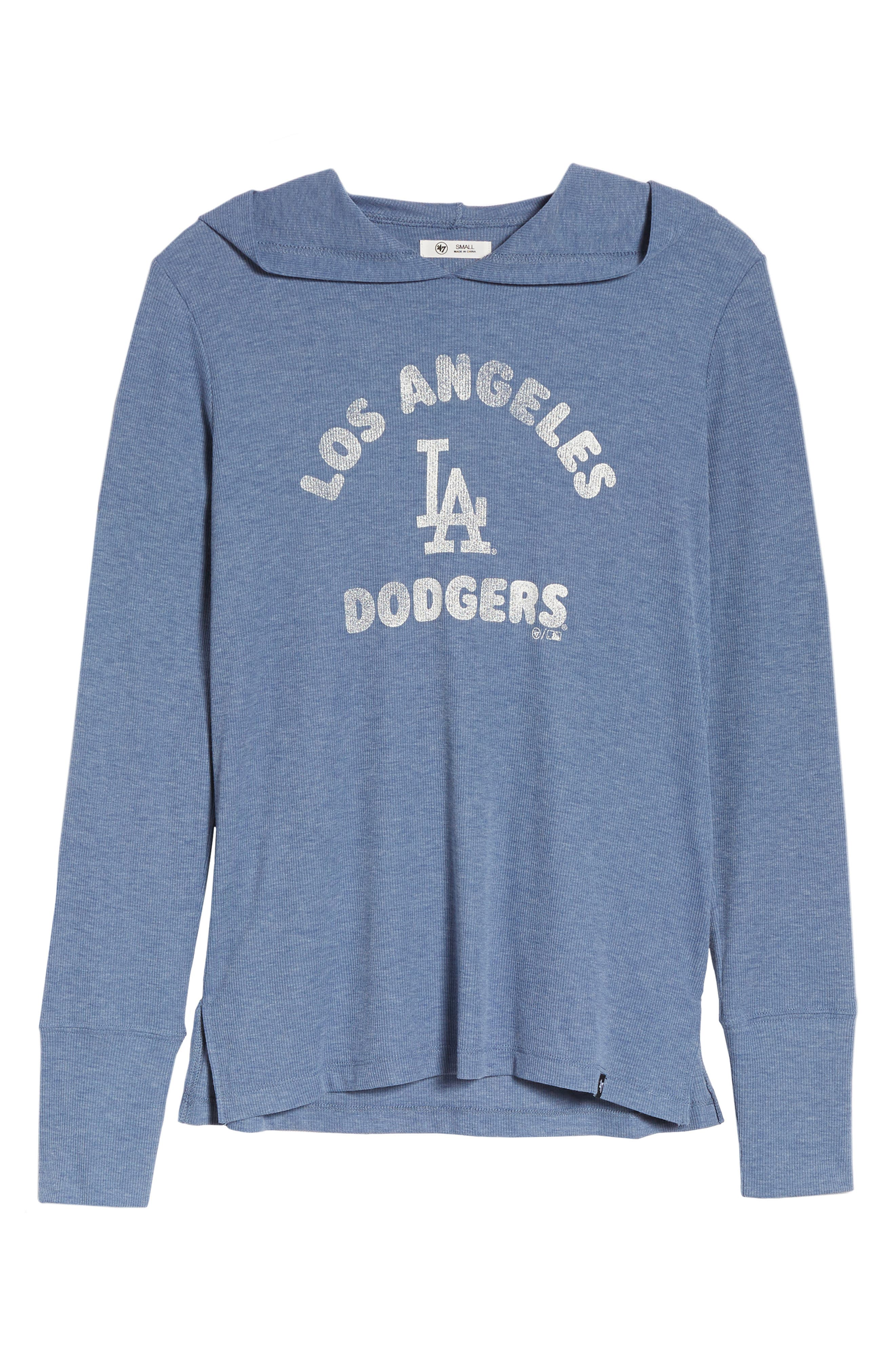 Campbell Los Angeles Dodgers Rib Knit Hooded Top,                             Alternate thumbnail 7, color,                             Bleacher Blue