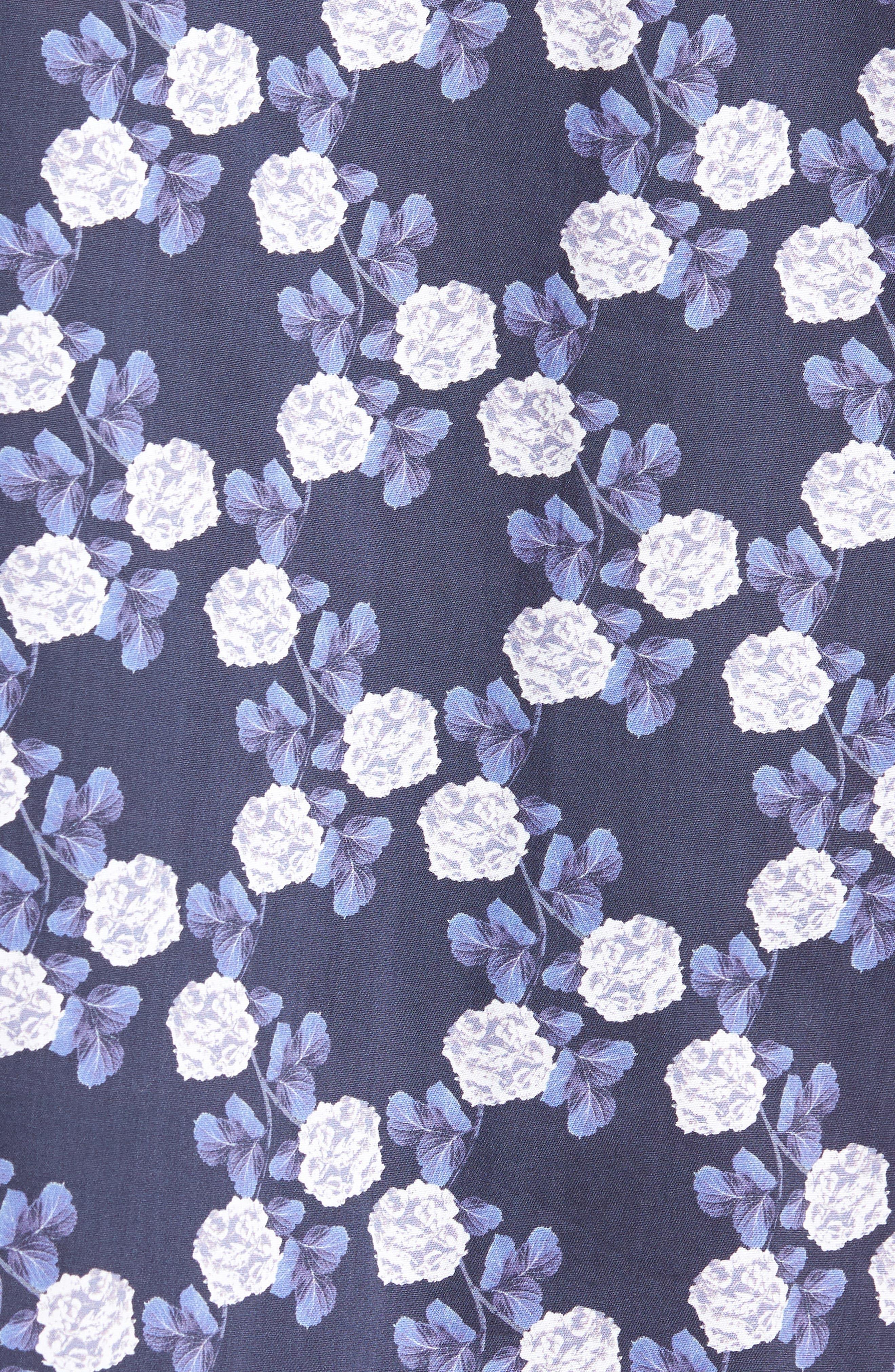 Trim Fit Short Sleeve Sport Shirt,                             Alternate thumbnail 5, color,                             Blue Flower Print