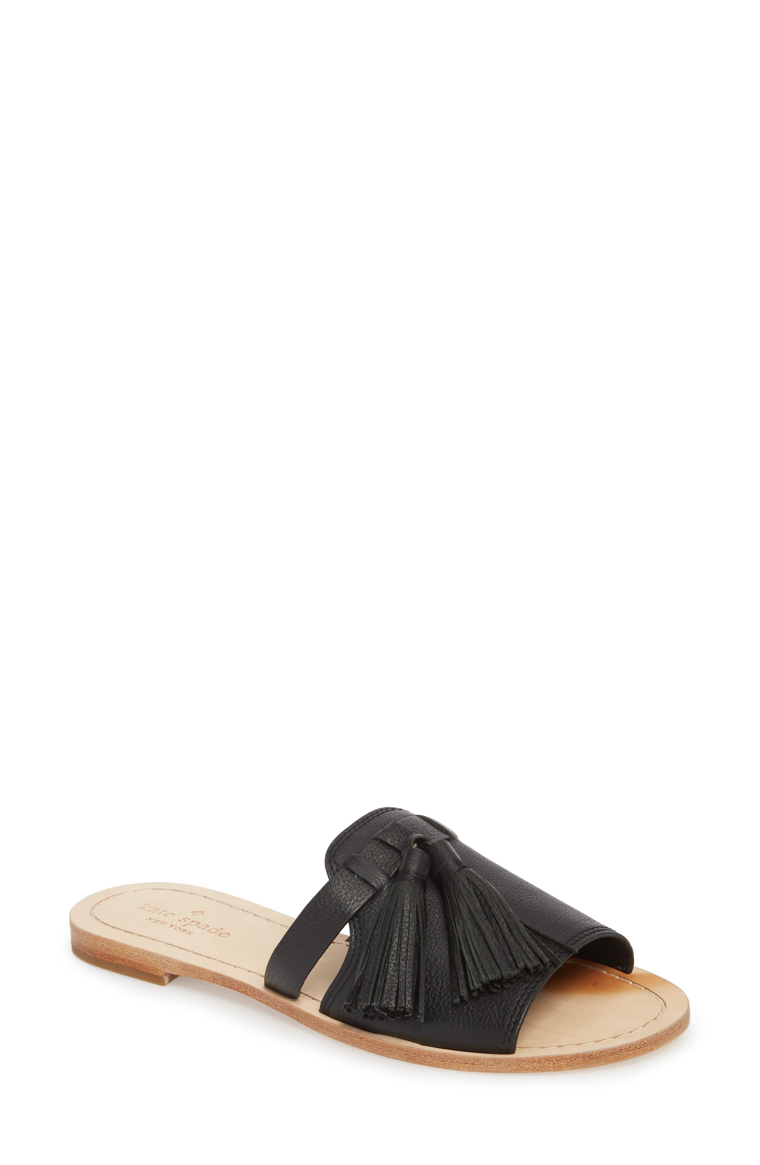coby tassel slide sandal,                             Main thumbnail 1, color,                             Black