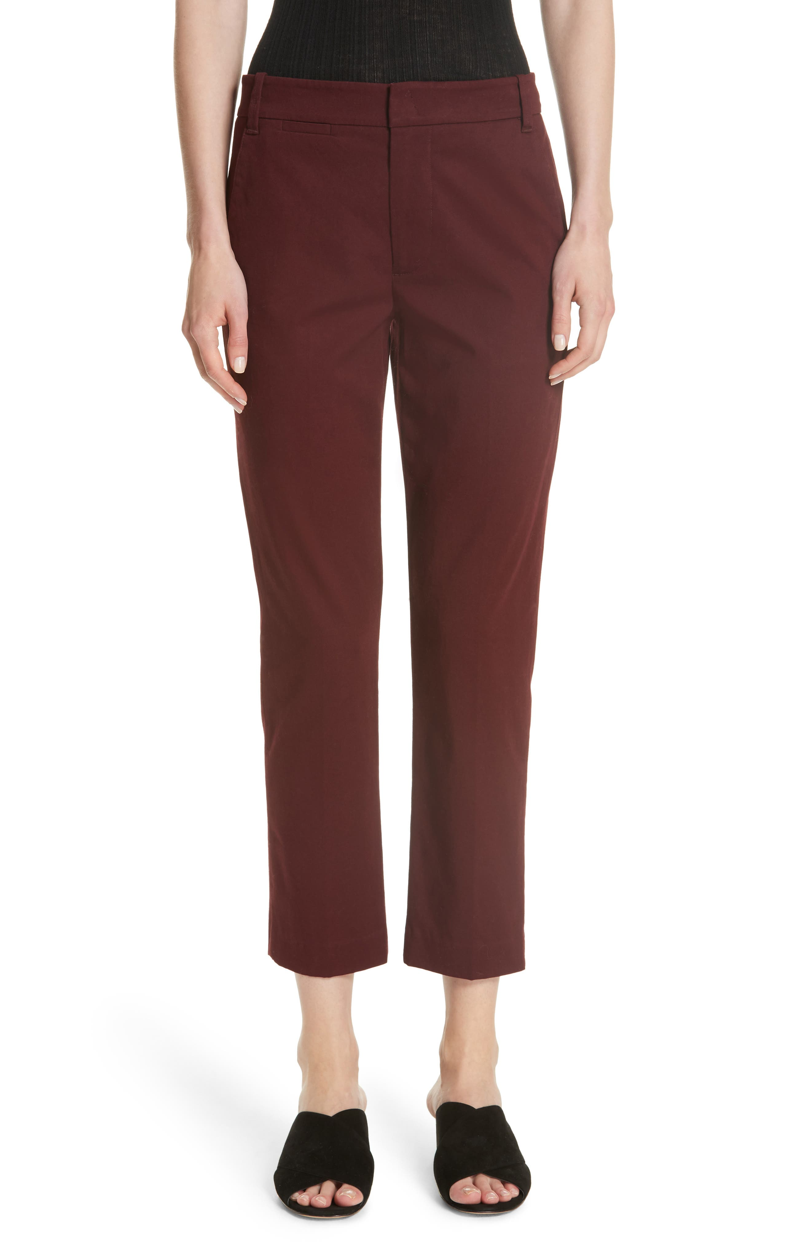 Coin Pocket Chino Pants,                             Main thumbnail 1, color,                             Black Cherry
