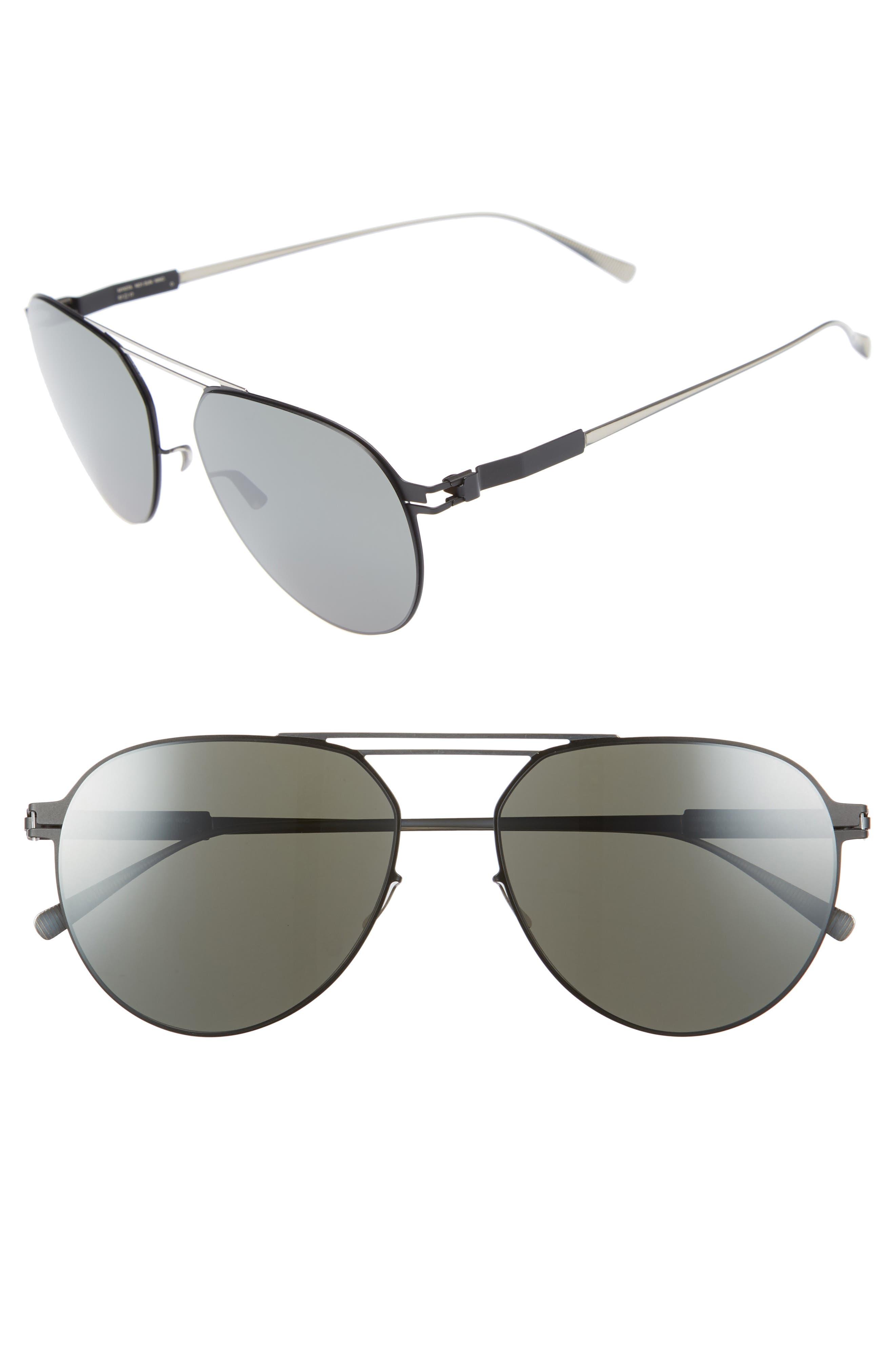 Nino 57mm Aviator Sunglasses,                             Main thumbnail 1, color,                             Silver/ Black