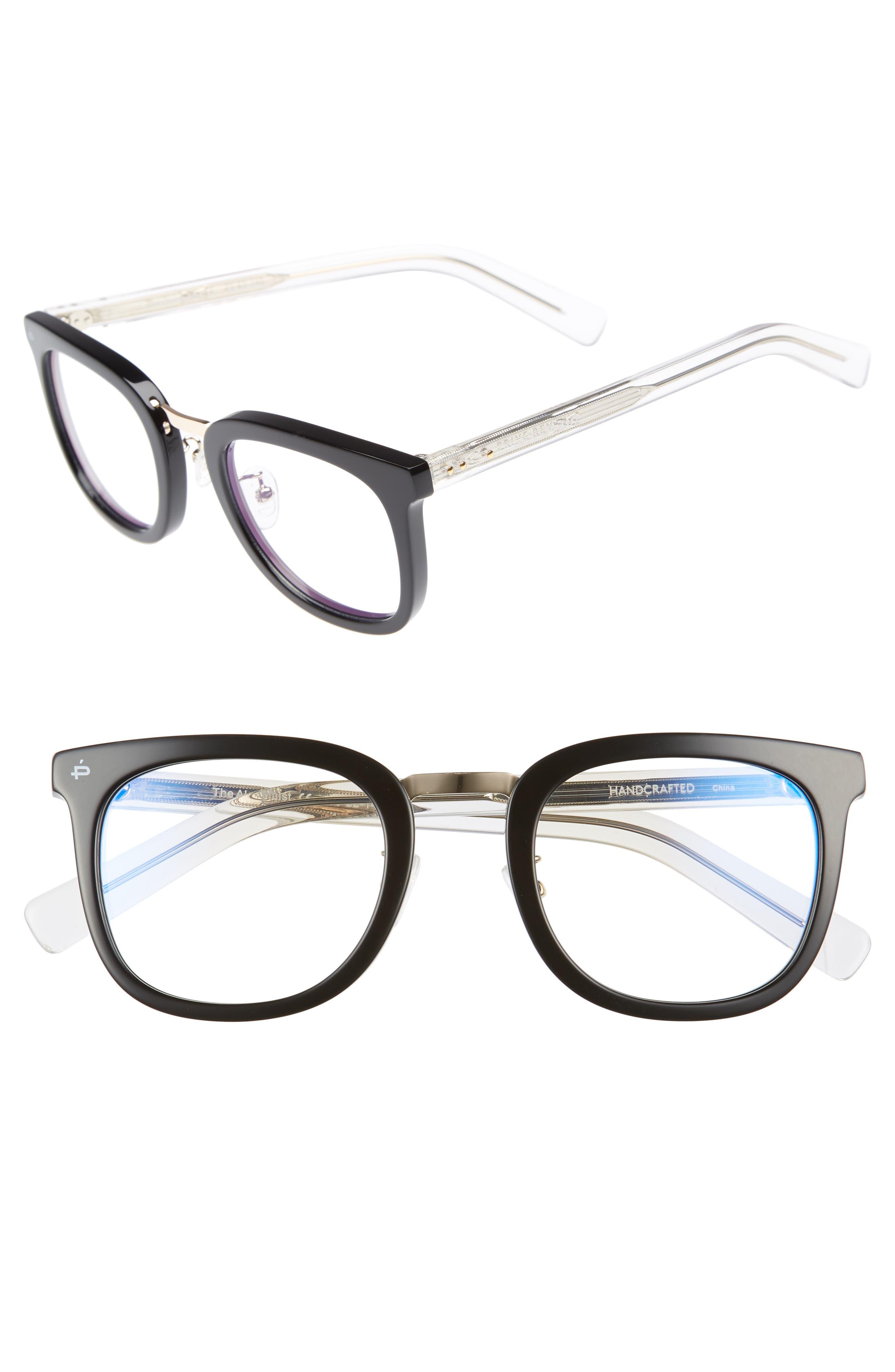 Privé Revaux The Alchemist 53mm Blue Light Blocking Glasses,                         Main,                         color, Black
