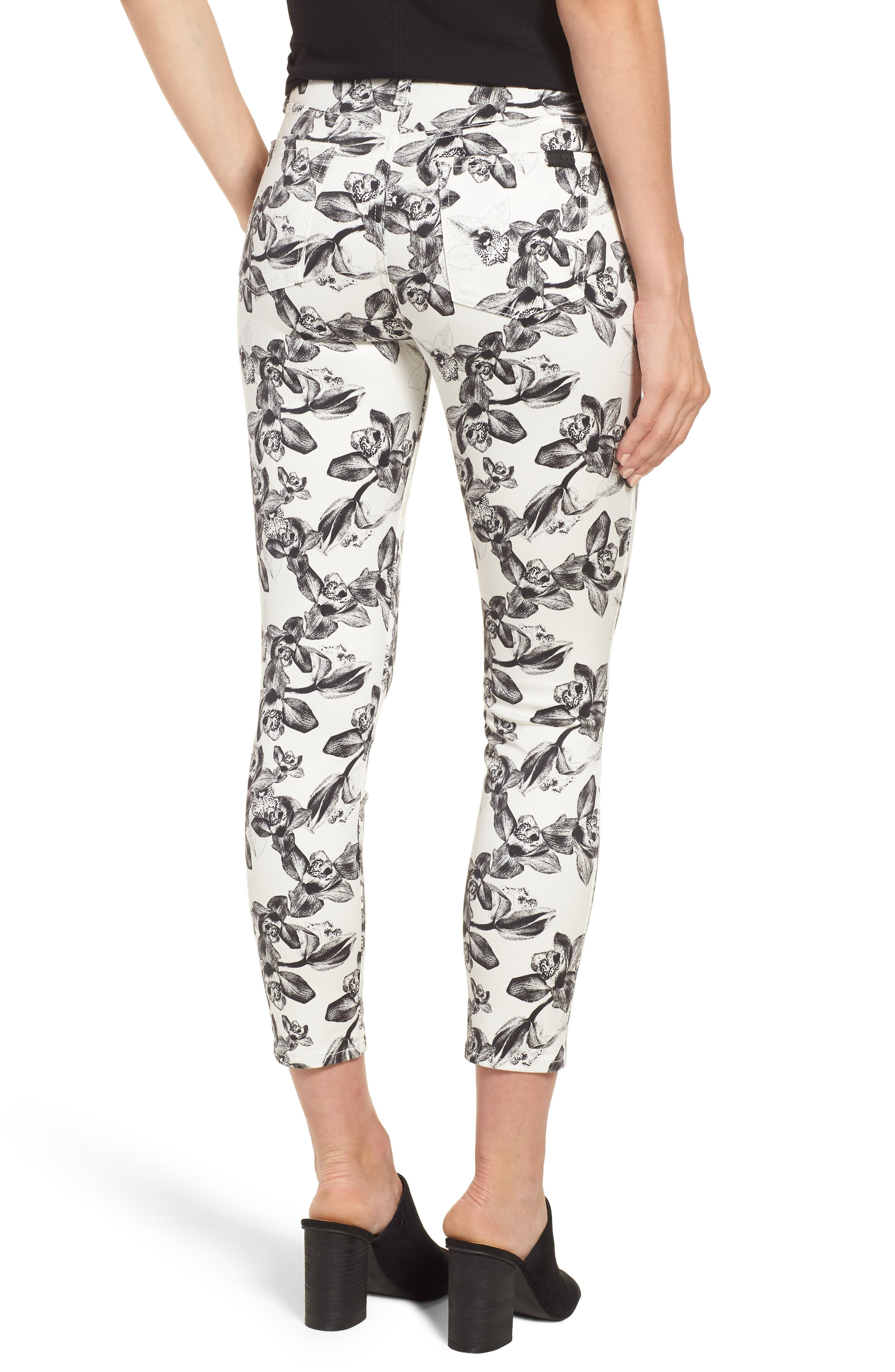 Print Crop Skinny Jeans,                             Alternate thumbnail 2, color,                             White/ Black Orchid