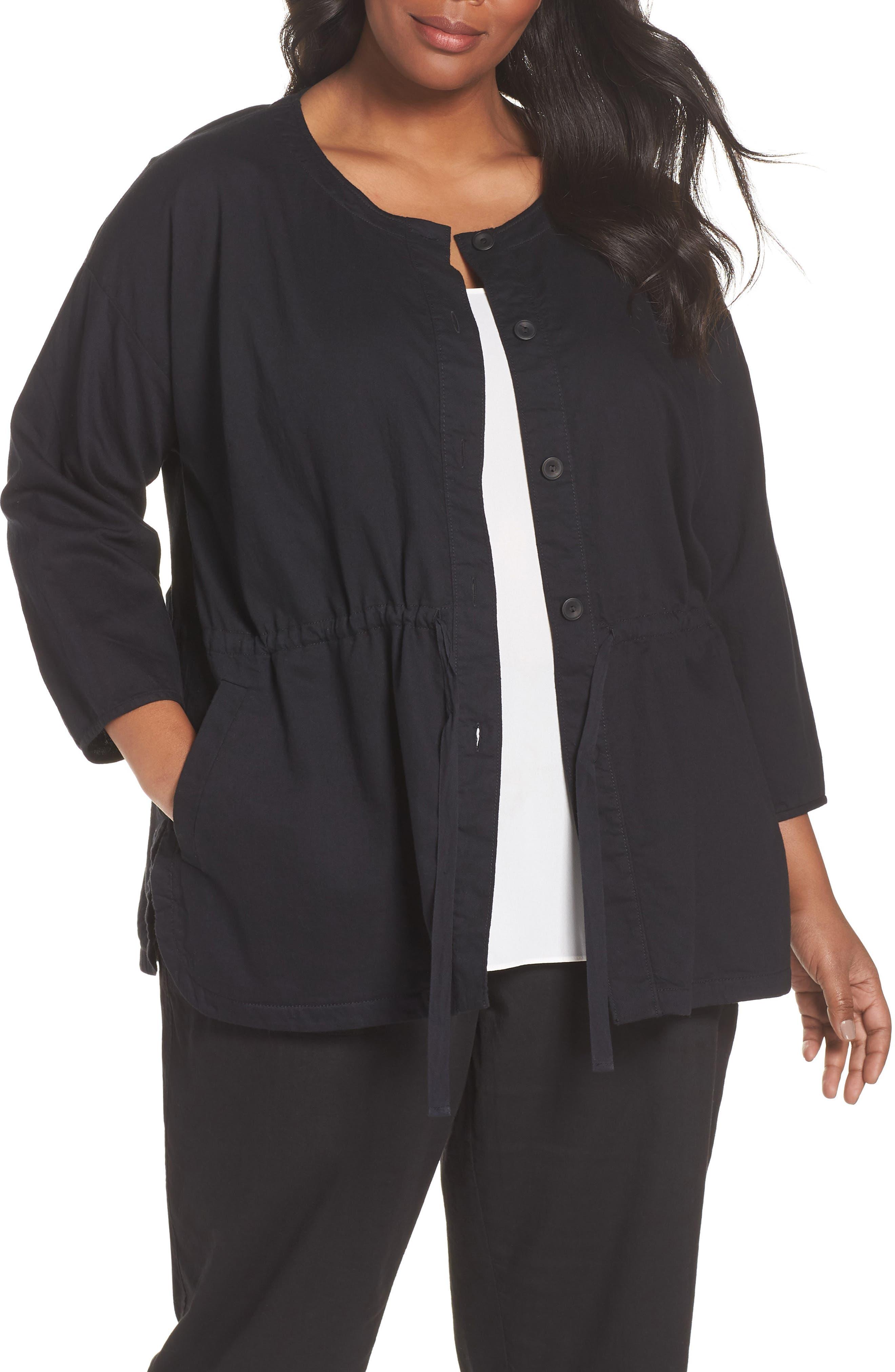 Shirttail Hem Organic Cotton Jacket,                             Main thumbnail 1, color,                             Black