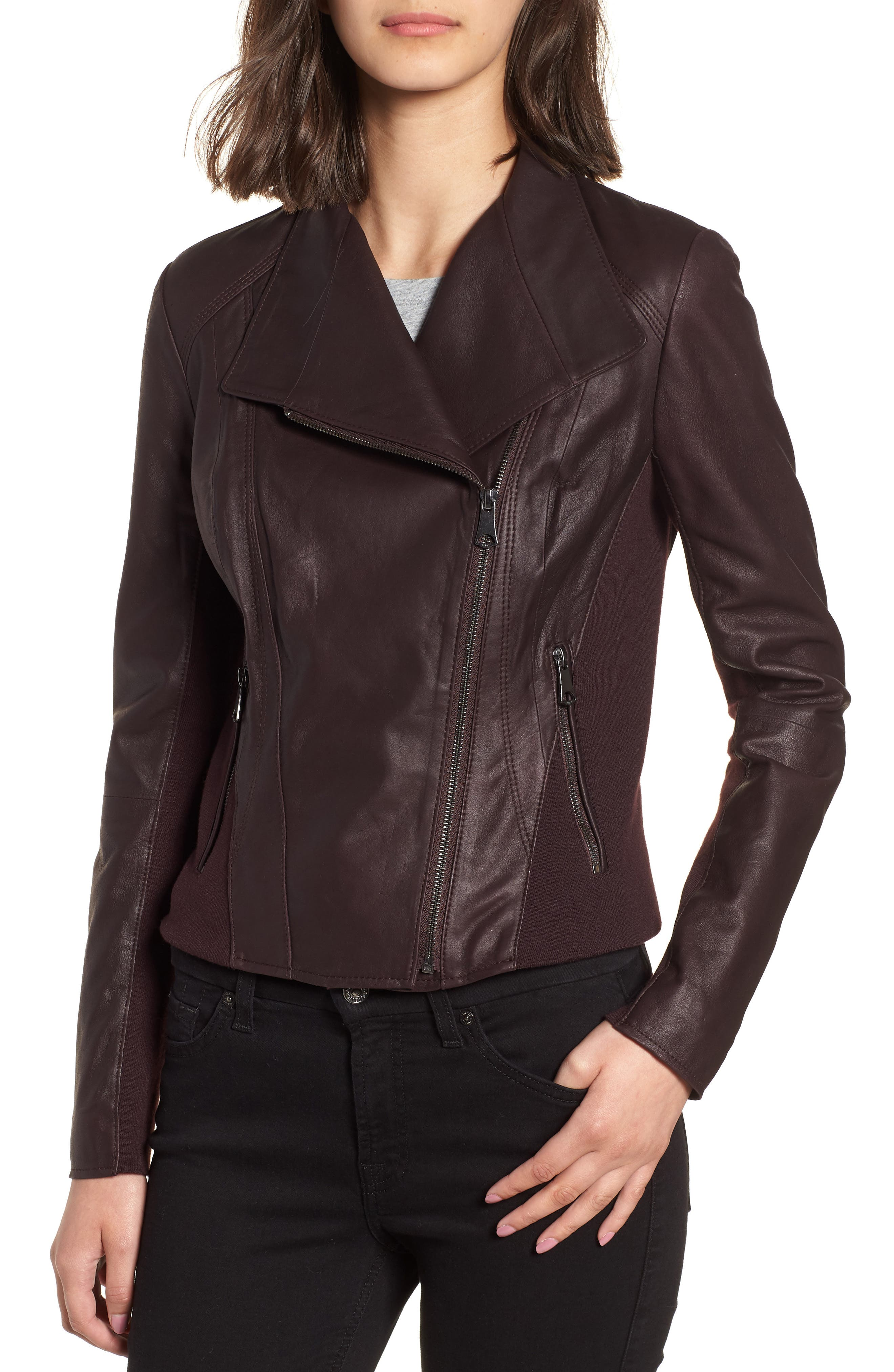 Marc New York by Andrew Marc 'Felix' Stand Collar Leather Jacket,                             Alternate thumbnail 4, color,                             Burgundy
