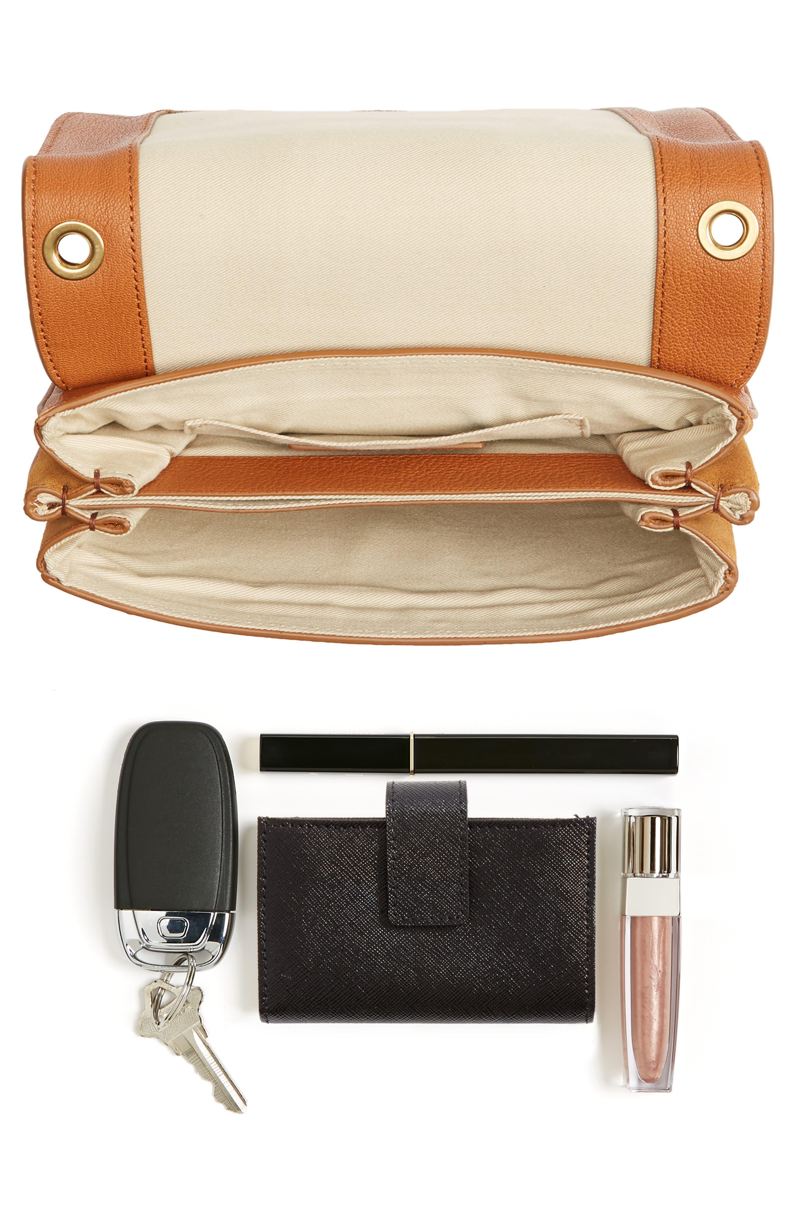 Hana Small Leather Crossbody Bag,                             Alternate thumbnail 5, color,