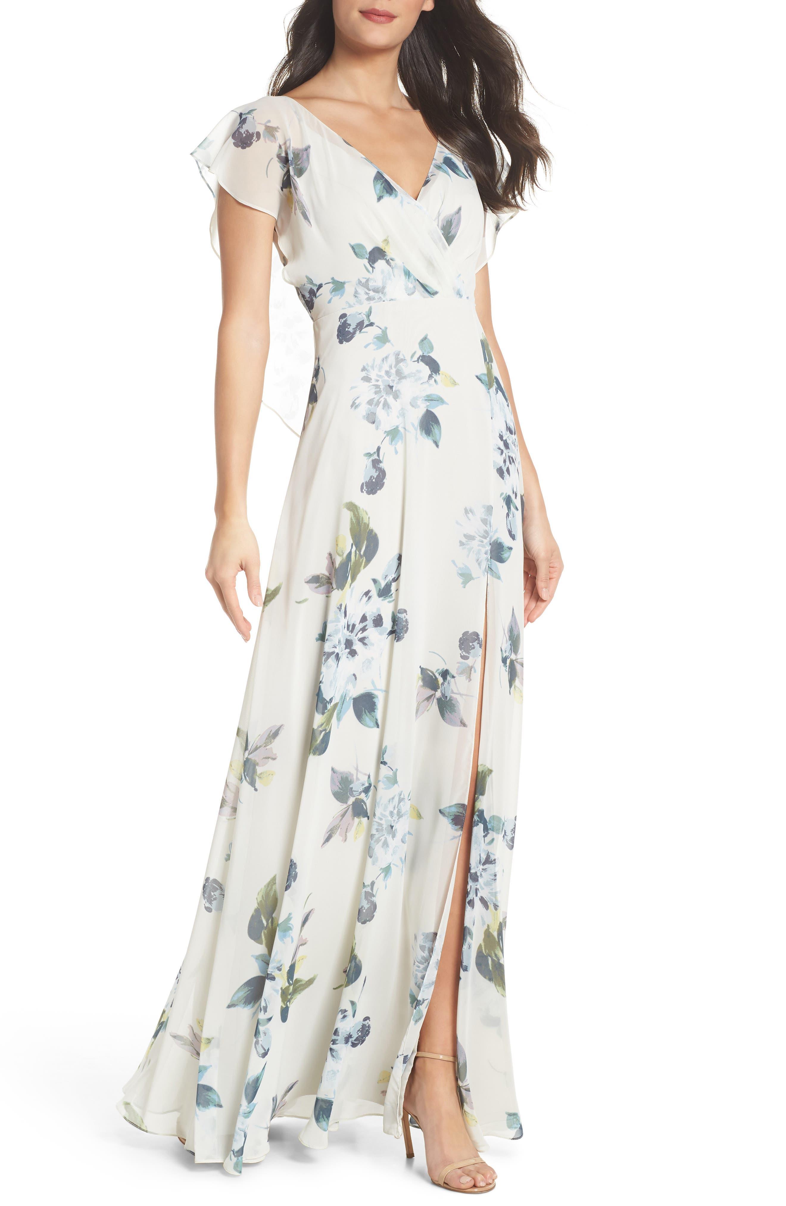 Alanna Ohana Print Open Back Print Chiffon Gown,                         Main,                         color, Soft Sage Blue