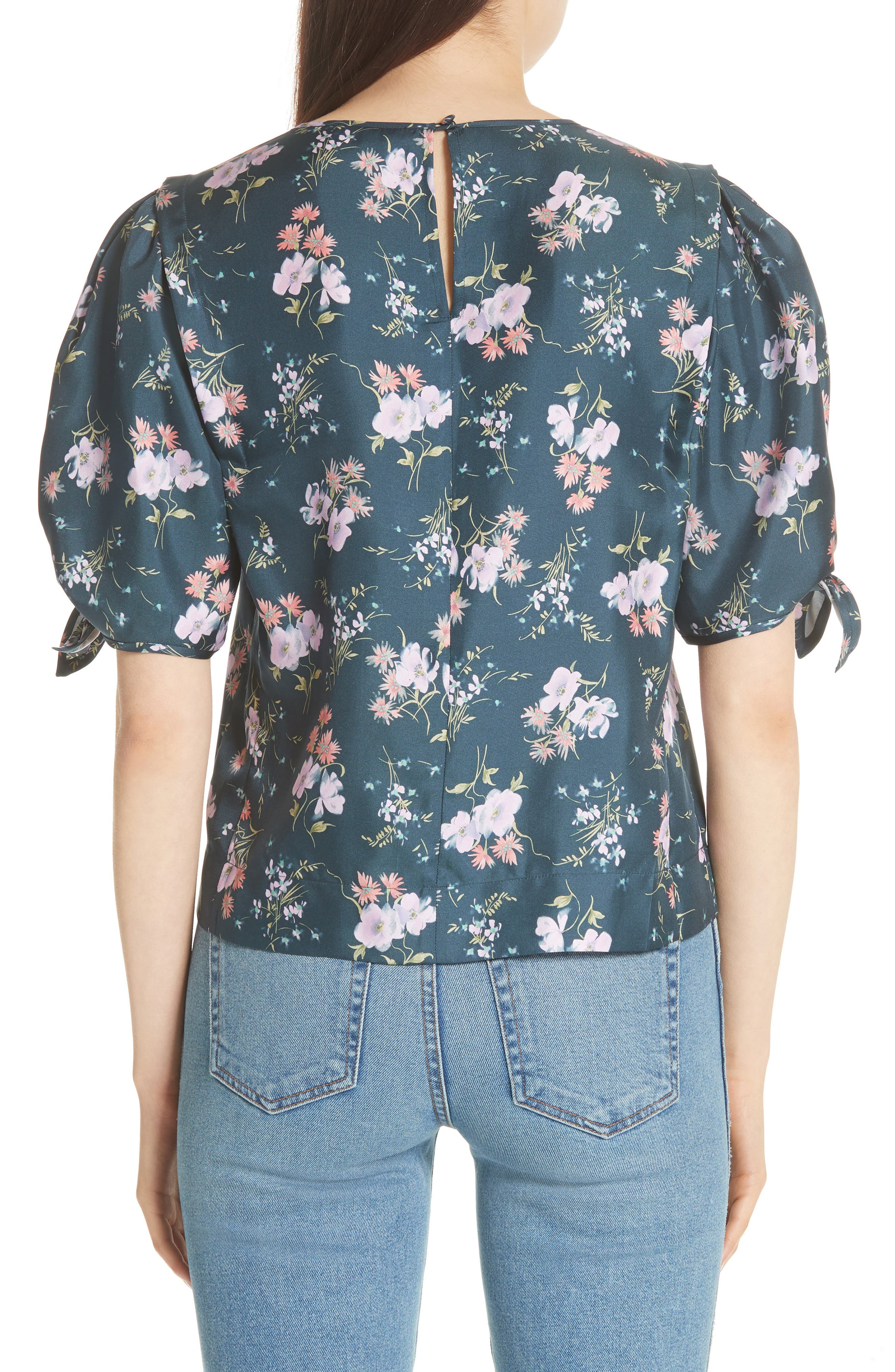 Emilia Tie Sleeve Floral Top,                             Alternate thumbnail 2, color,                             Teal Combo