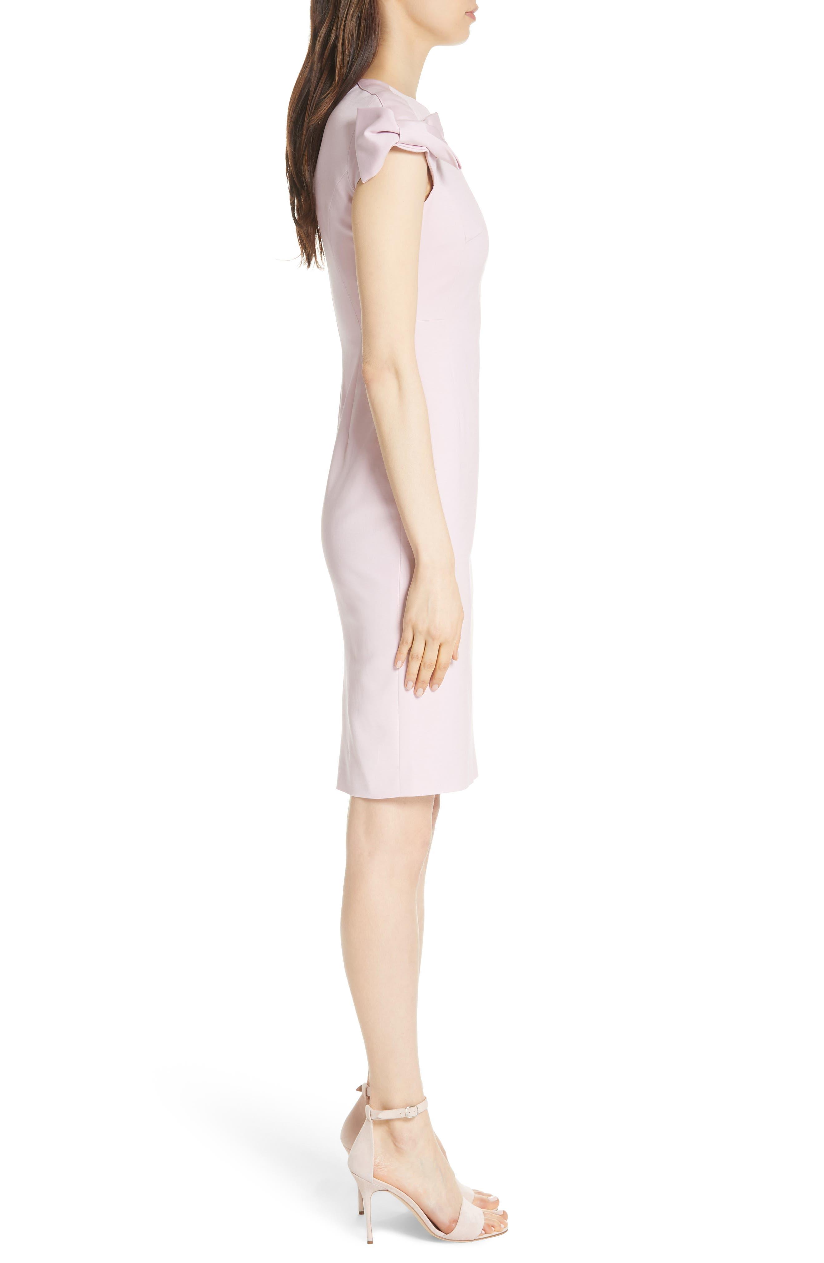 Bow Shoulder Pencil Dress,                             Alternate thumbnail 3, color,                             Lilac