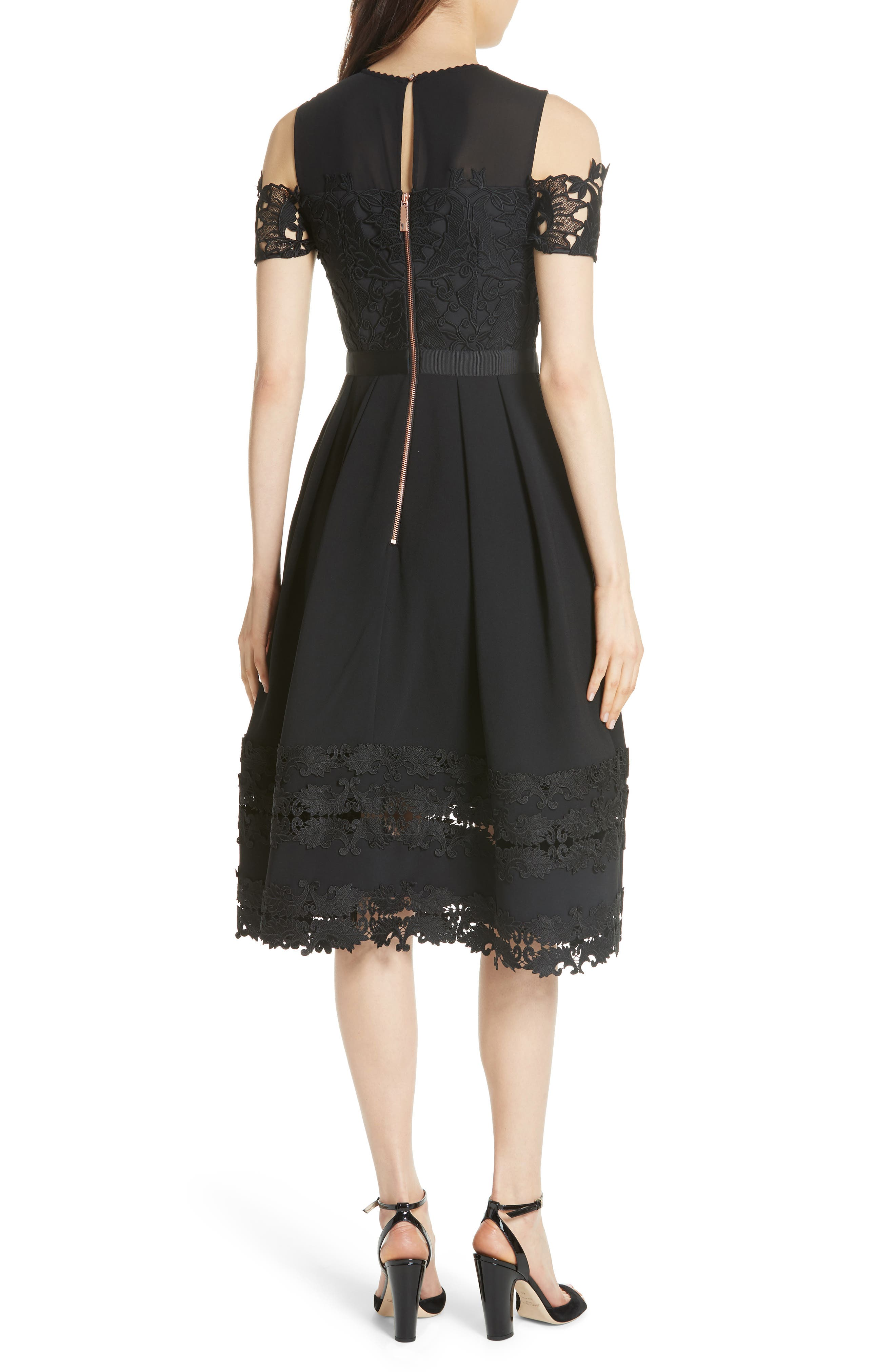 Structured Lace Cold Shoulder Midi Dress,                             Alternate thumbnail 2, color,                             Black